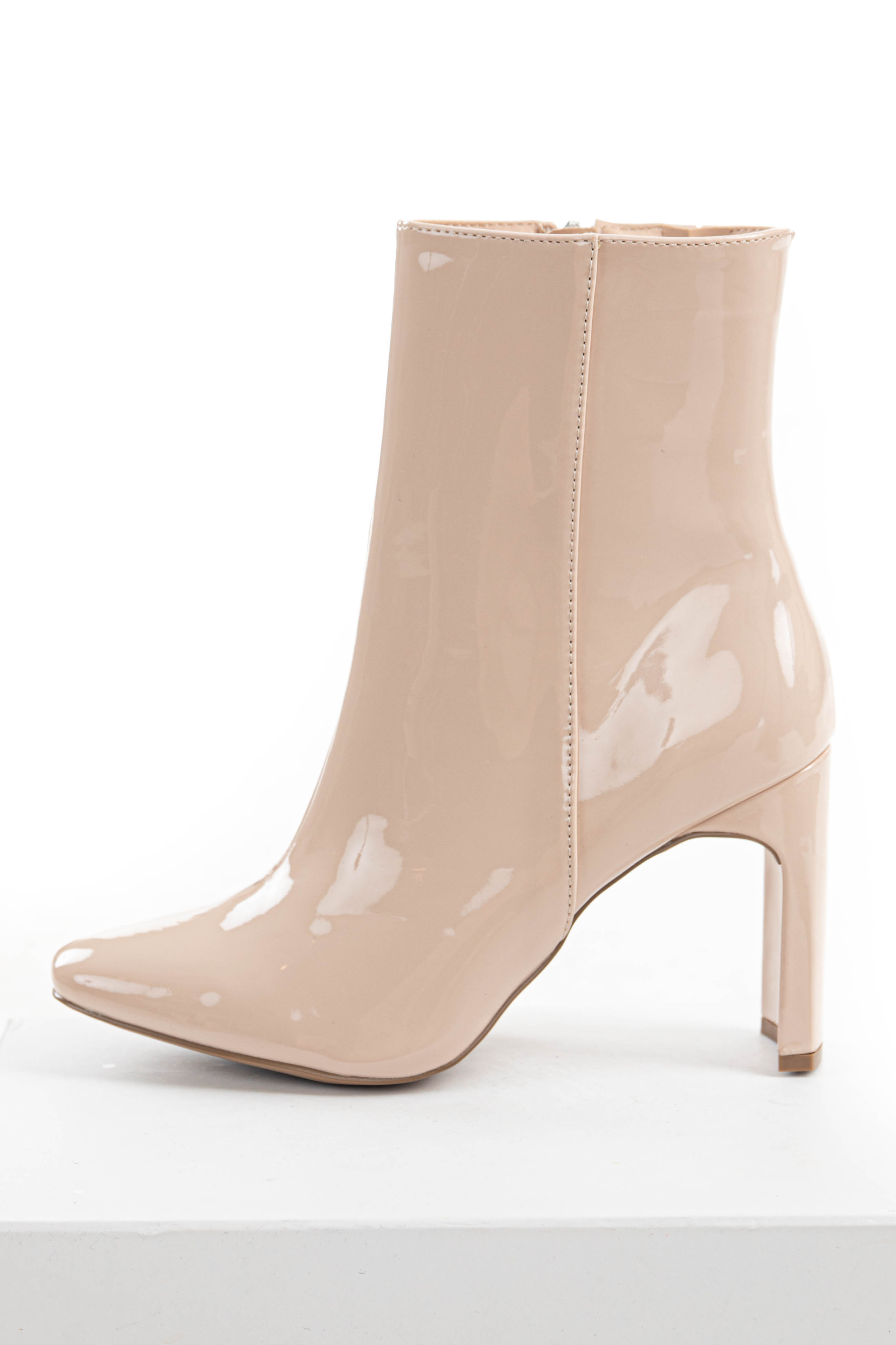 Desert Sand Curved High Heeled Glossy Bootie