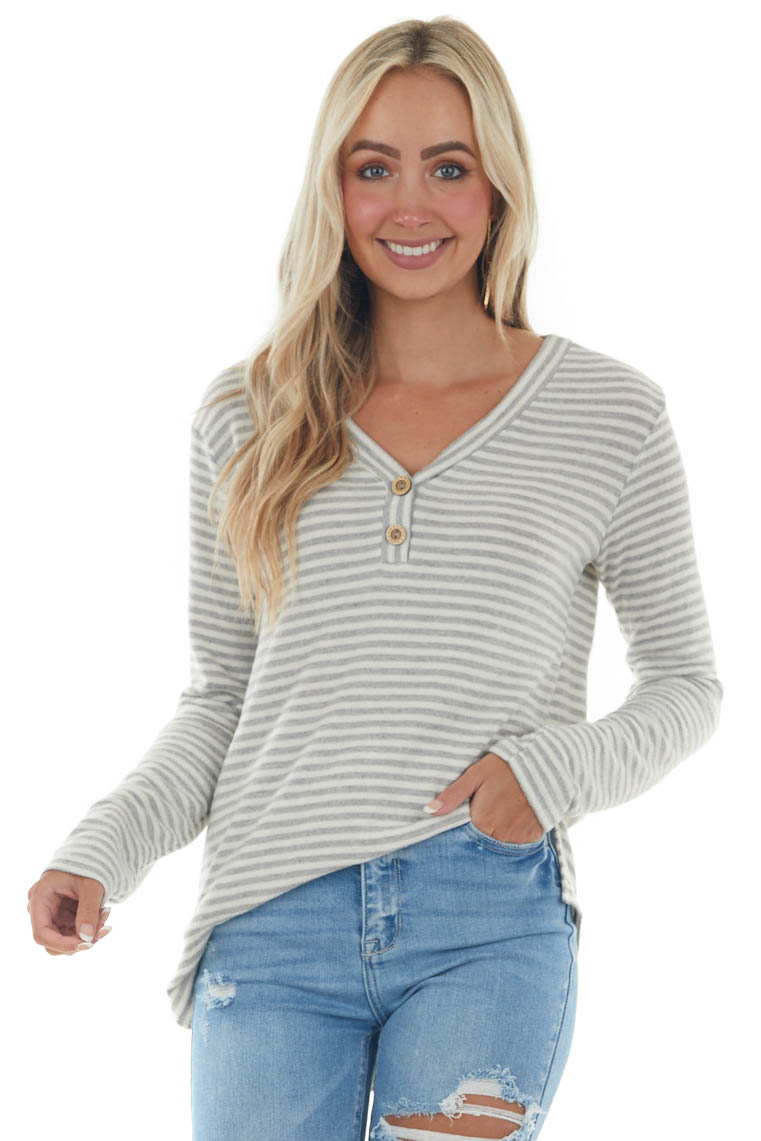 Dove Grey Striped Brushed Knit Button Top
