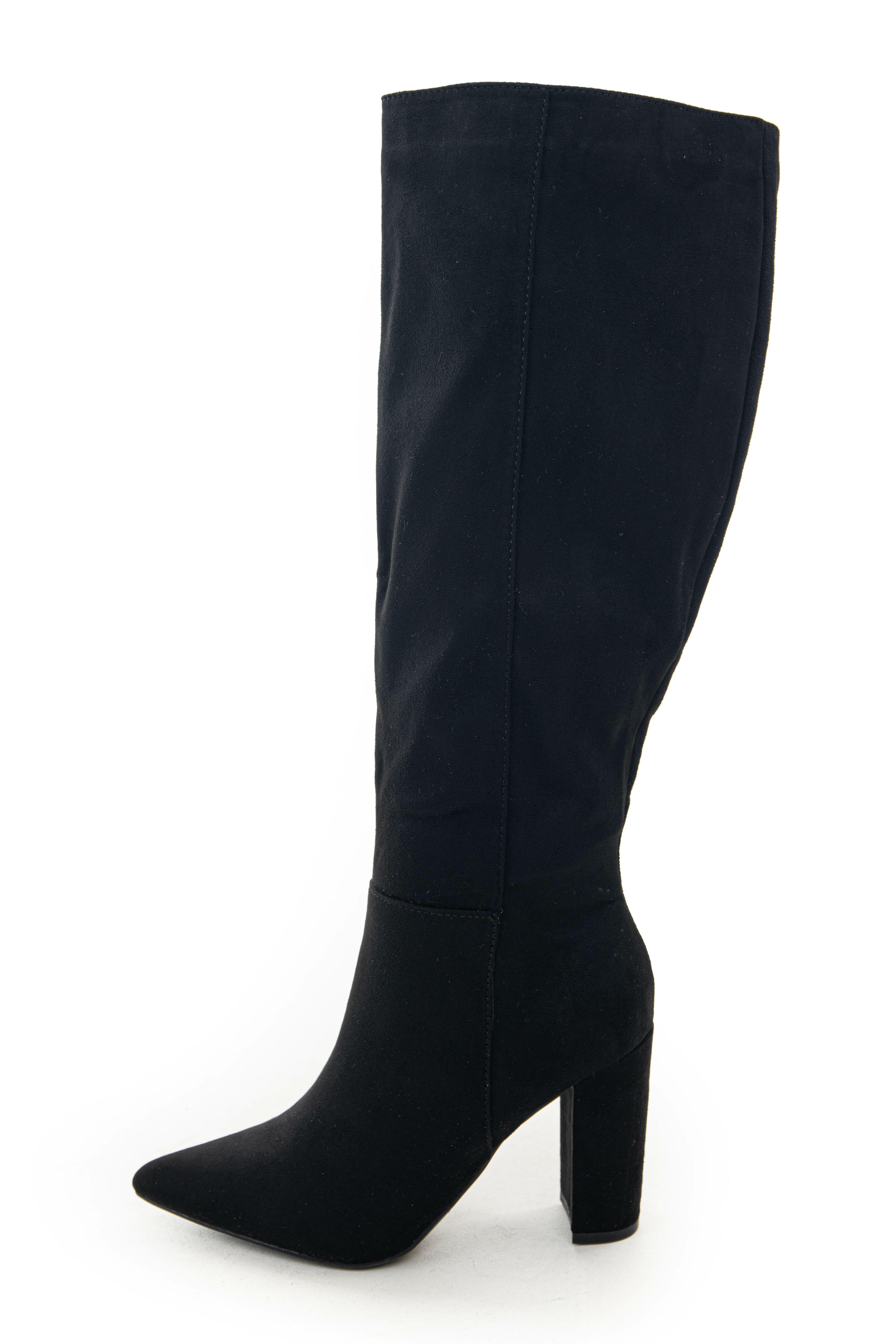 Black Faux Suede Chunky Heel Knee High Boots