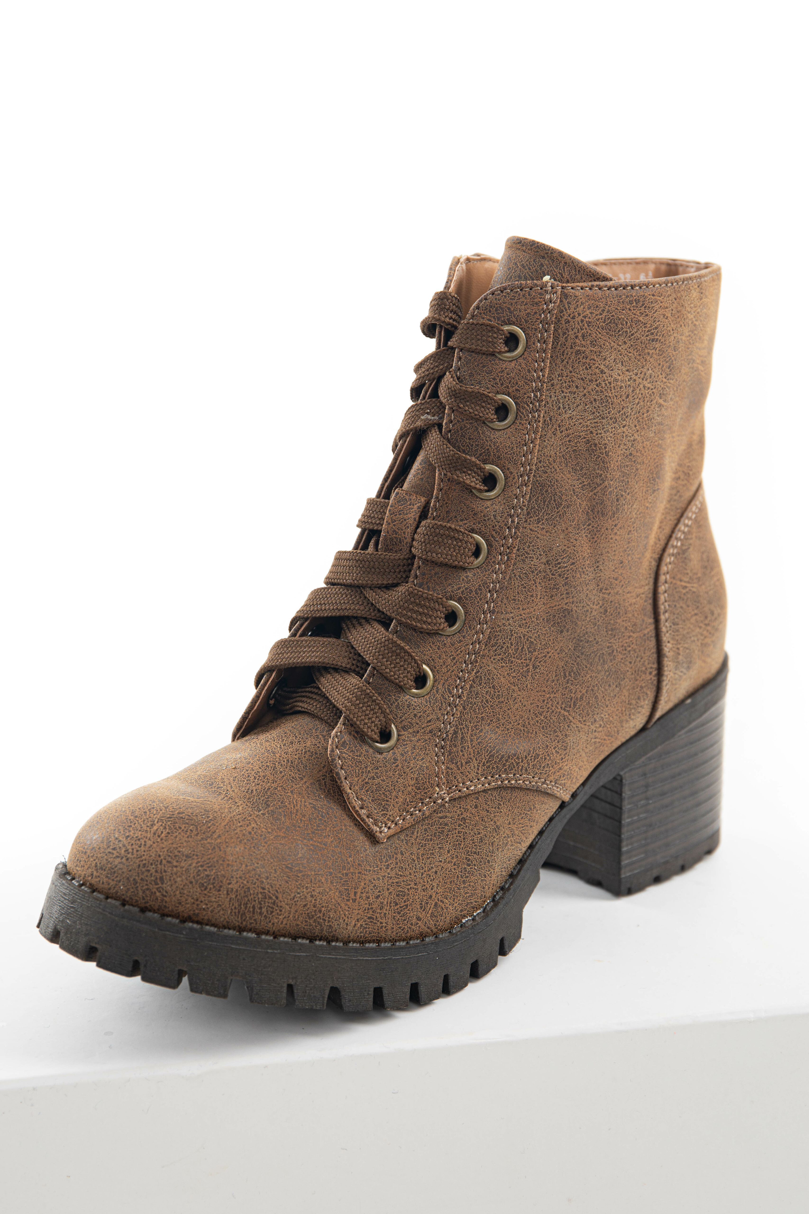 Warm Walnut Faux Leather Lace Up Combat Boots