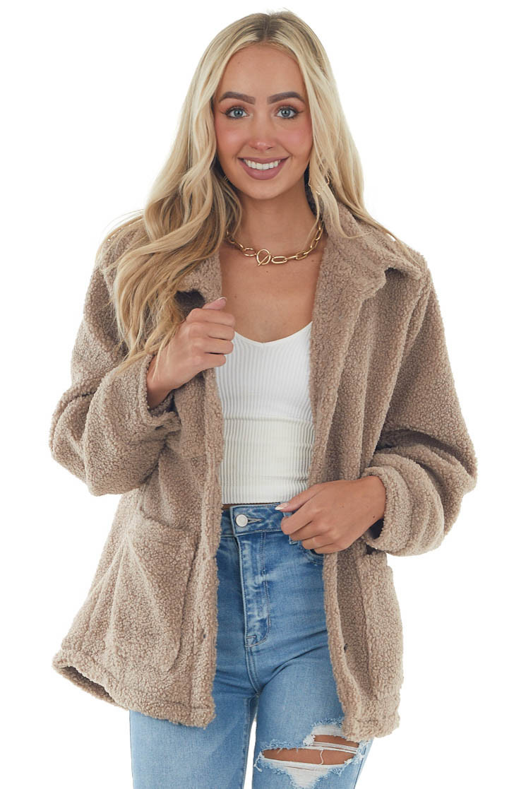 Deep Latte Button Up Teddy Jacket with Pockets