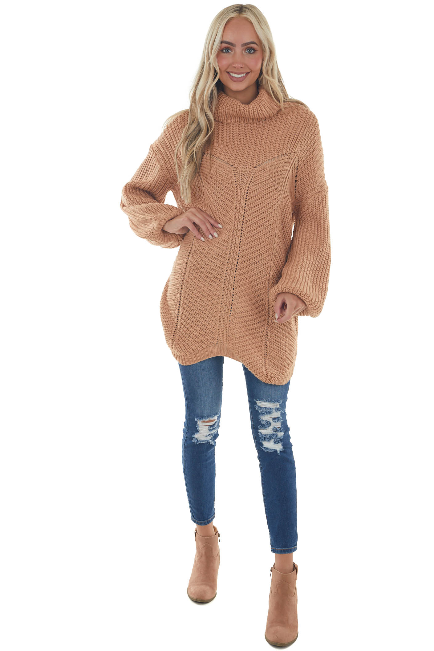 Apricot Cowl Neck Sweater with Bubble Sleeves