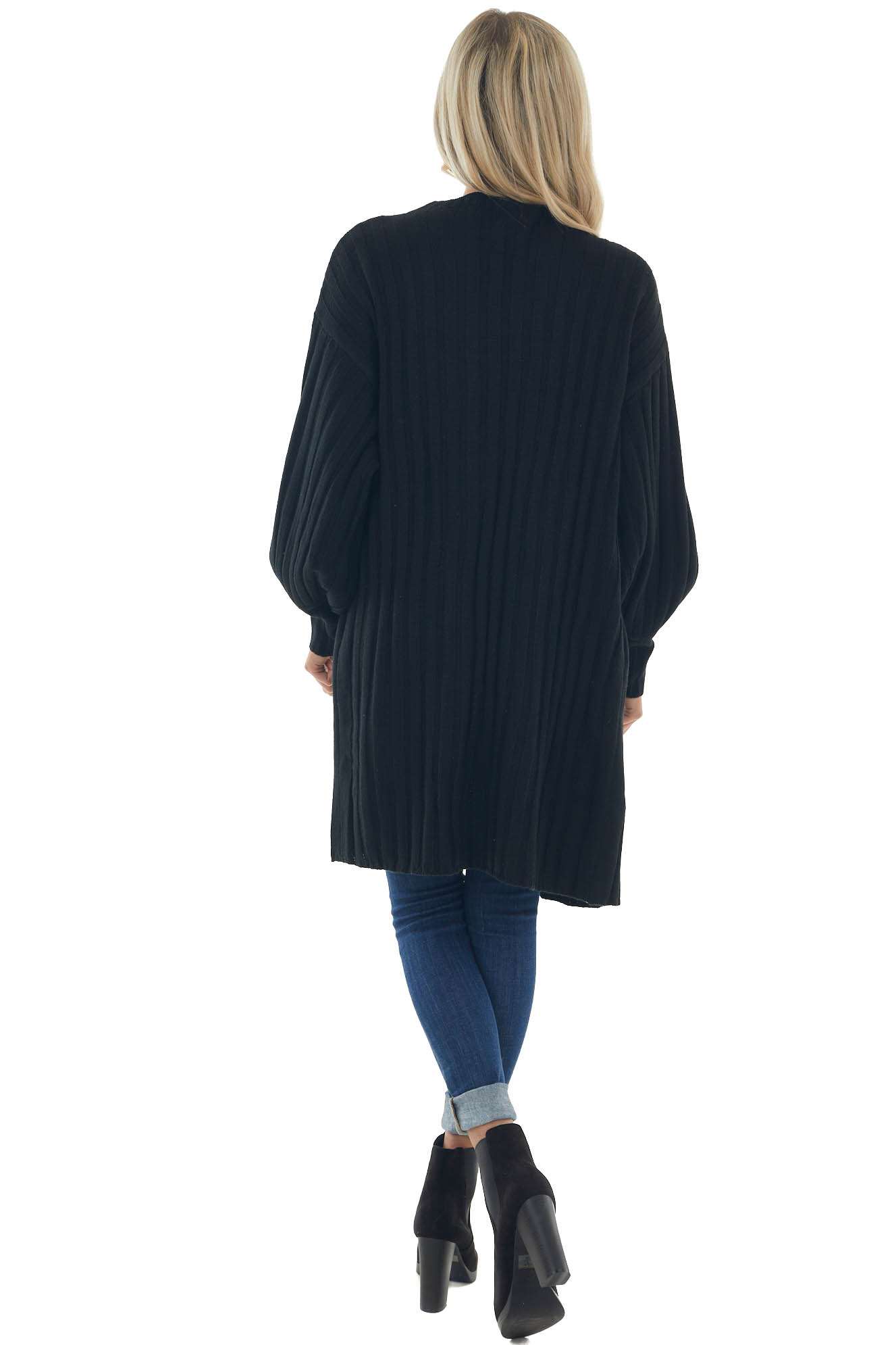 Black Ribbed Puff Sleeve Duster Cardigan