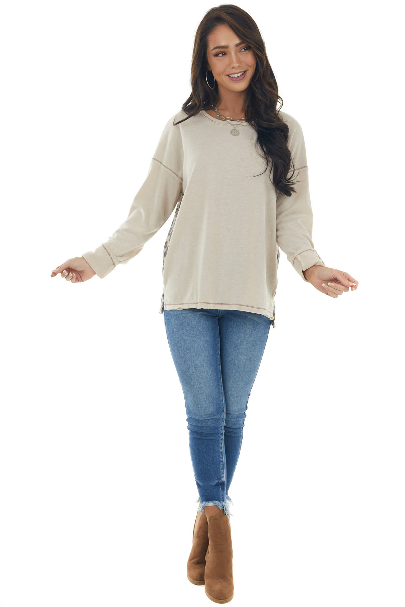 Almond Long Sleeve Top with Leopard Print Back