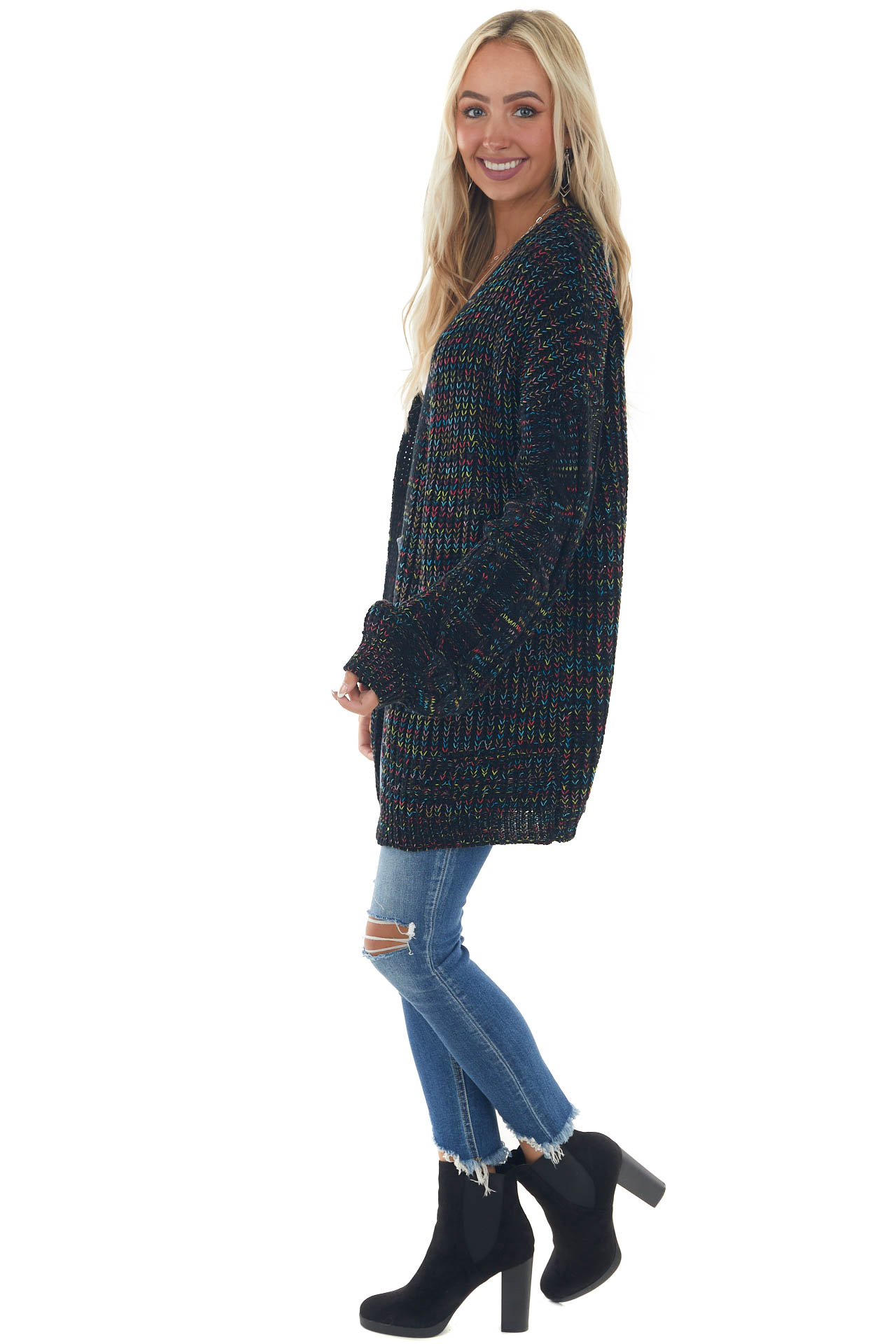 Black Multicolor Cardigan with Bubble Sleeves