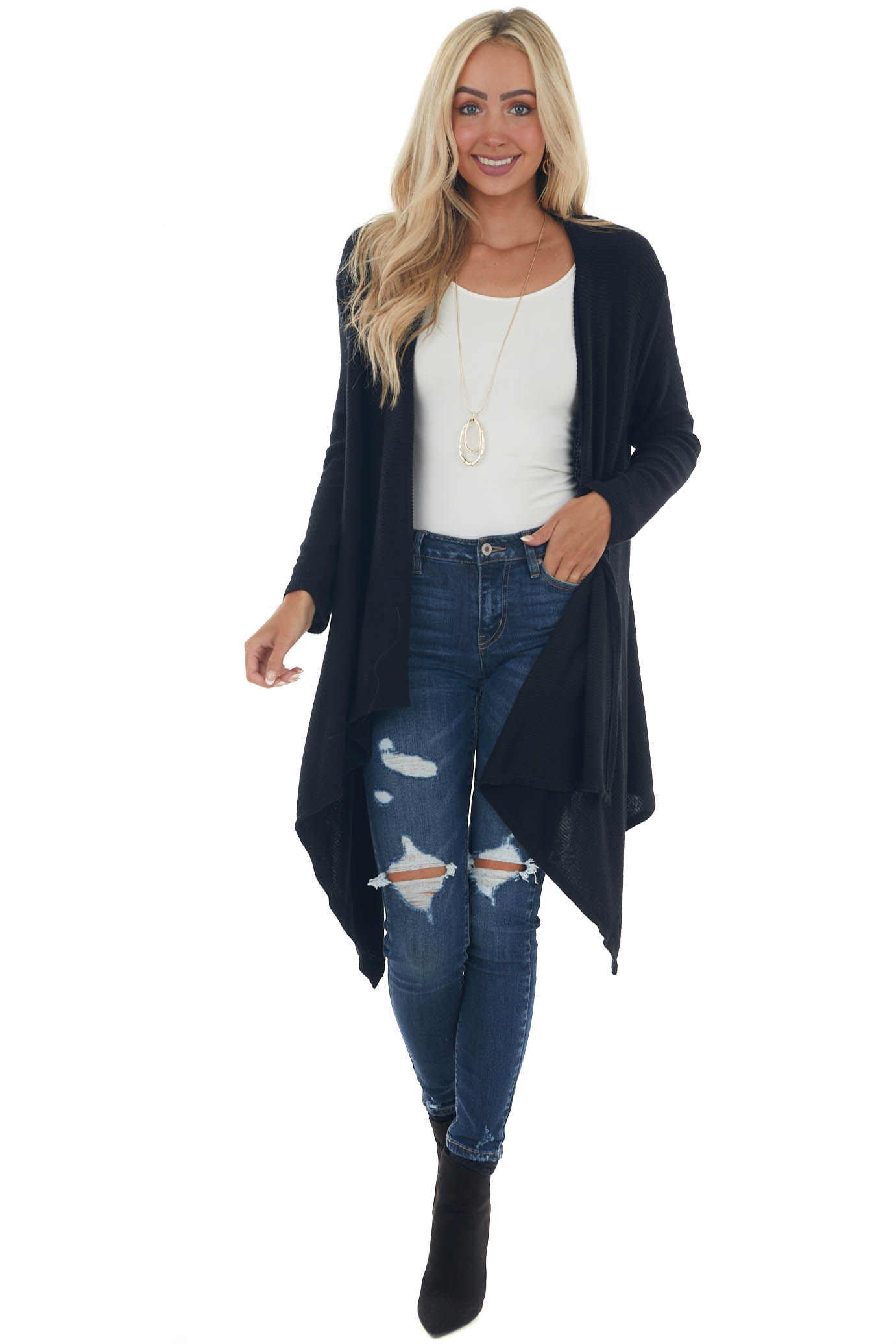 Black Ribbed Brushed Cardigan with Pockets