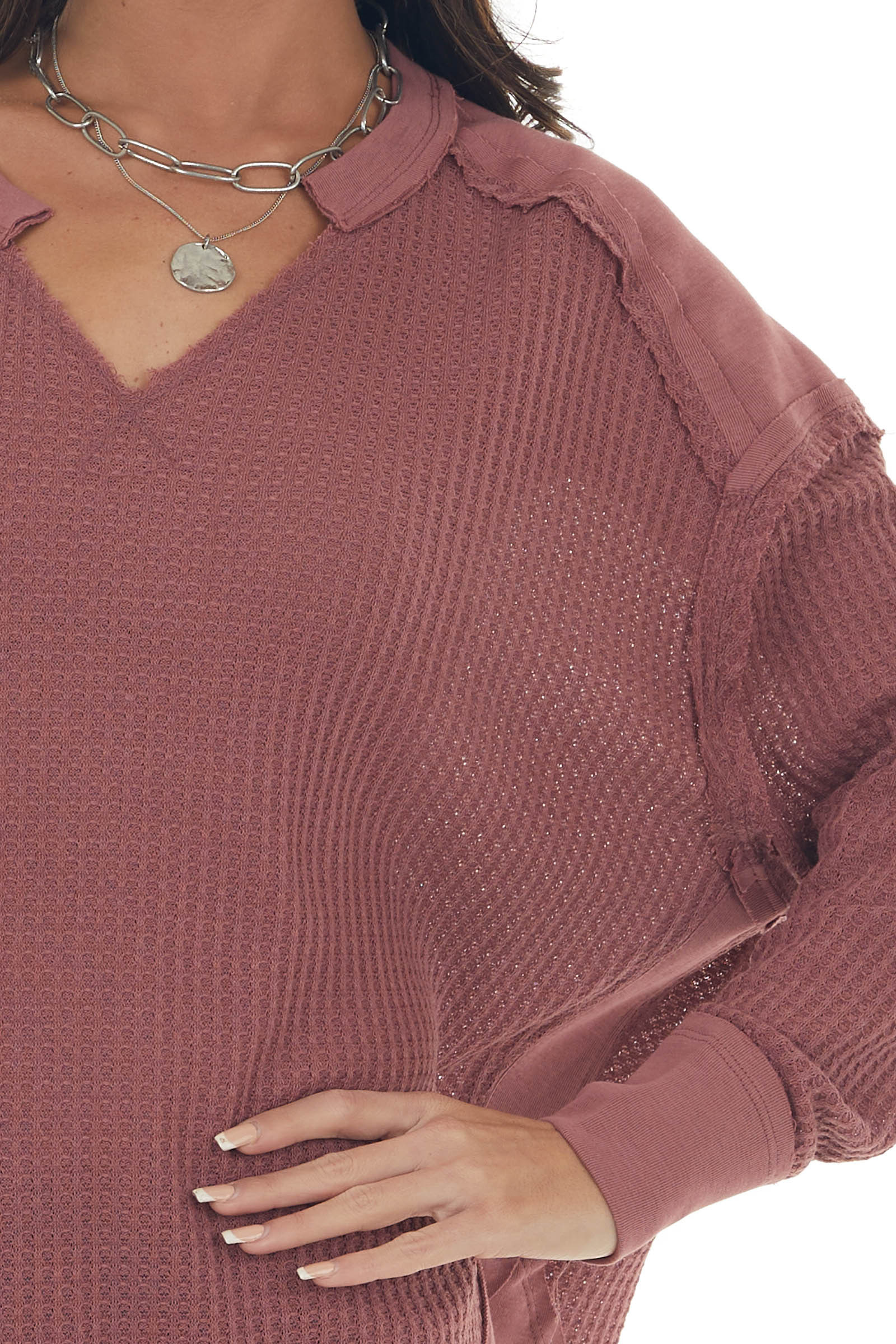 Marsala Waffle Knit Top with Solid Trim Detail