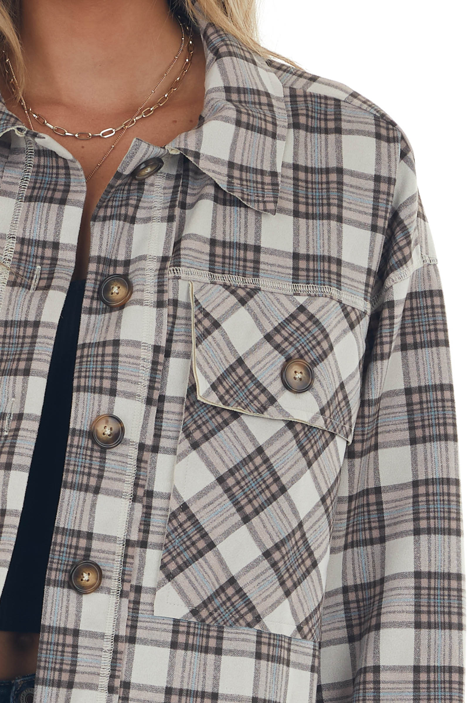Coconut and Rose Taupe Plaid Button Up Jacket