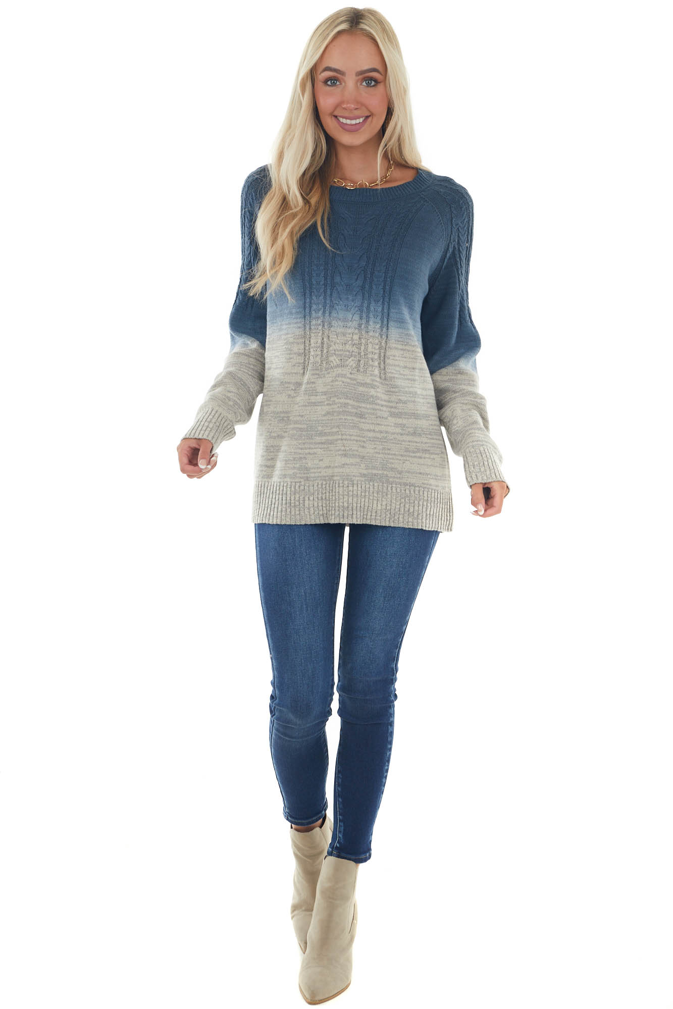 Spruce Blue and Khaki Ombre Cable Knit Sweater