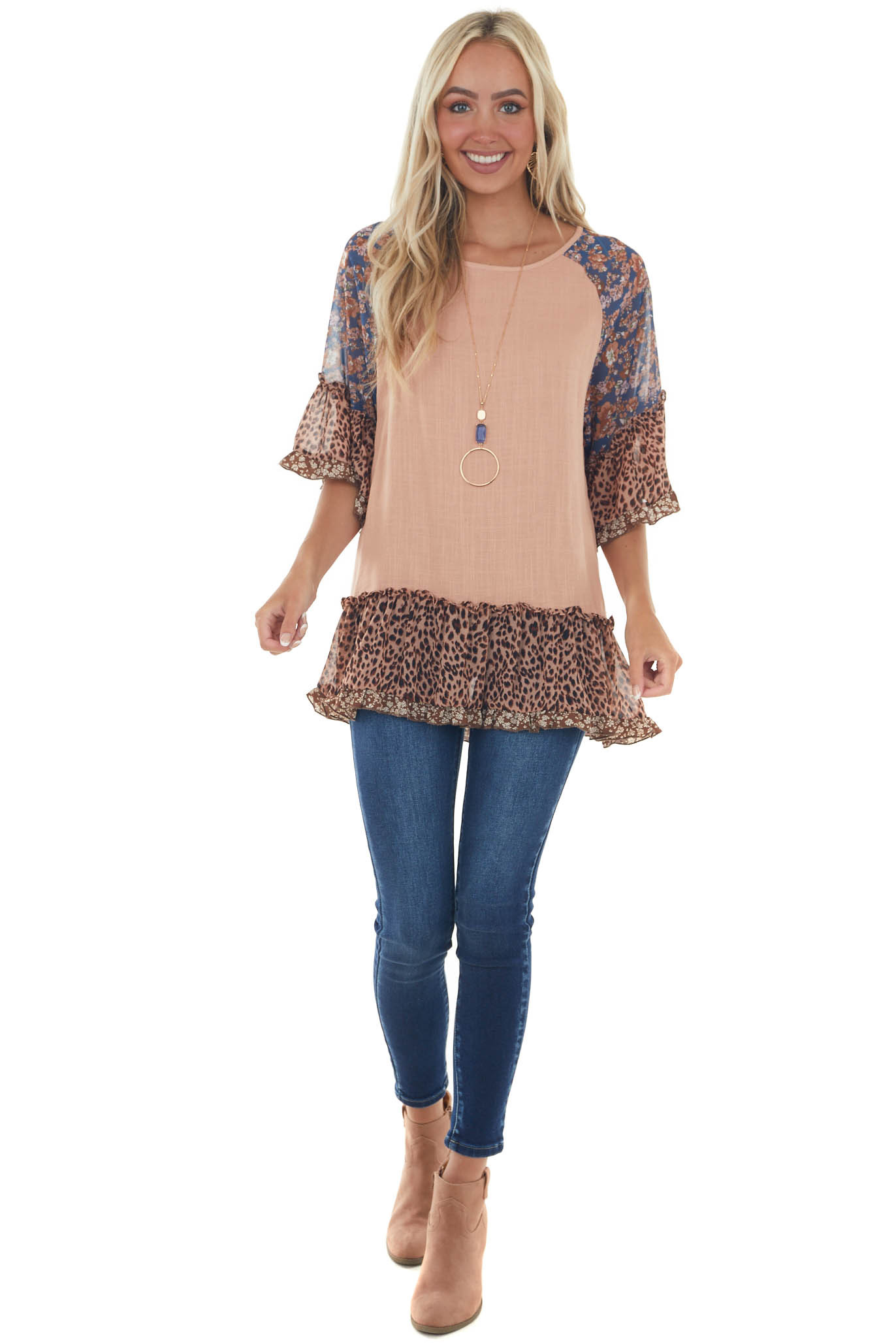 Apricot Multiprint Colorblock Tunic Length Top
