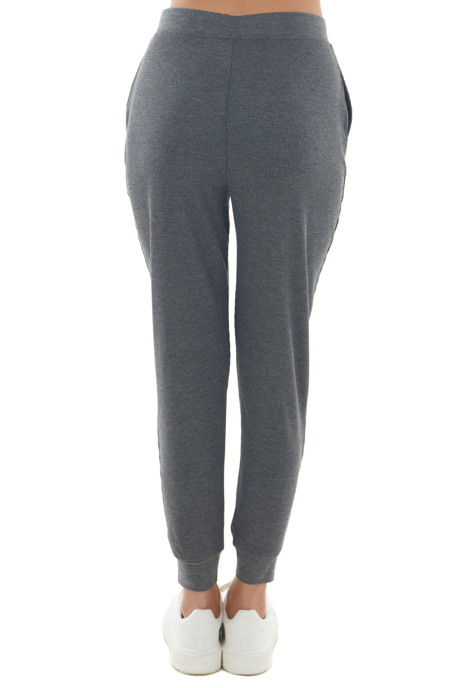 Charcoal Contrast Drawstring Thermal Joggers
