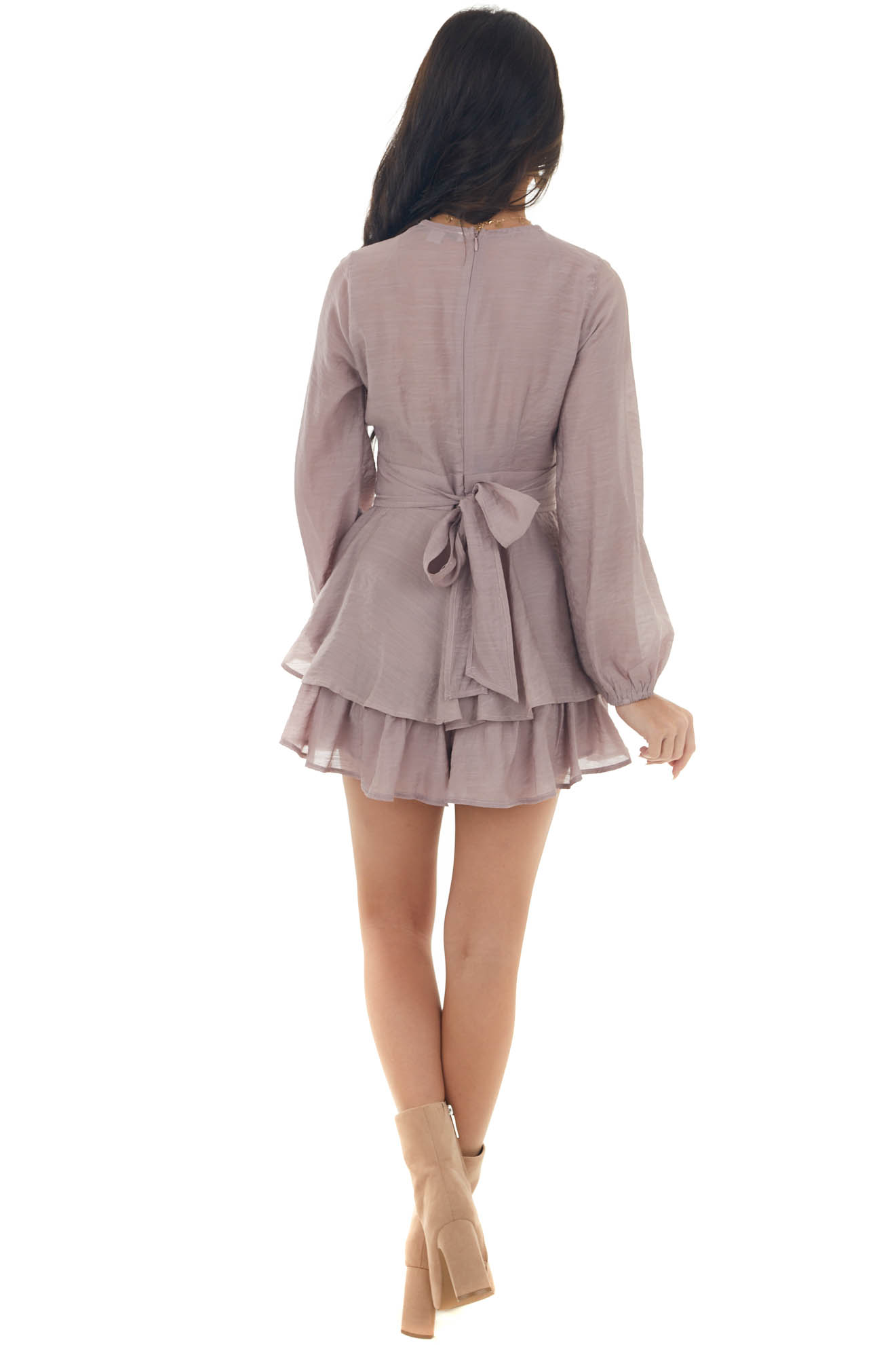 Mauve Tiered Overlay Romper with Waist Tie