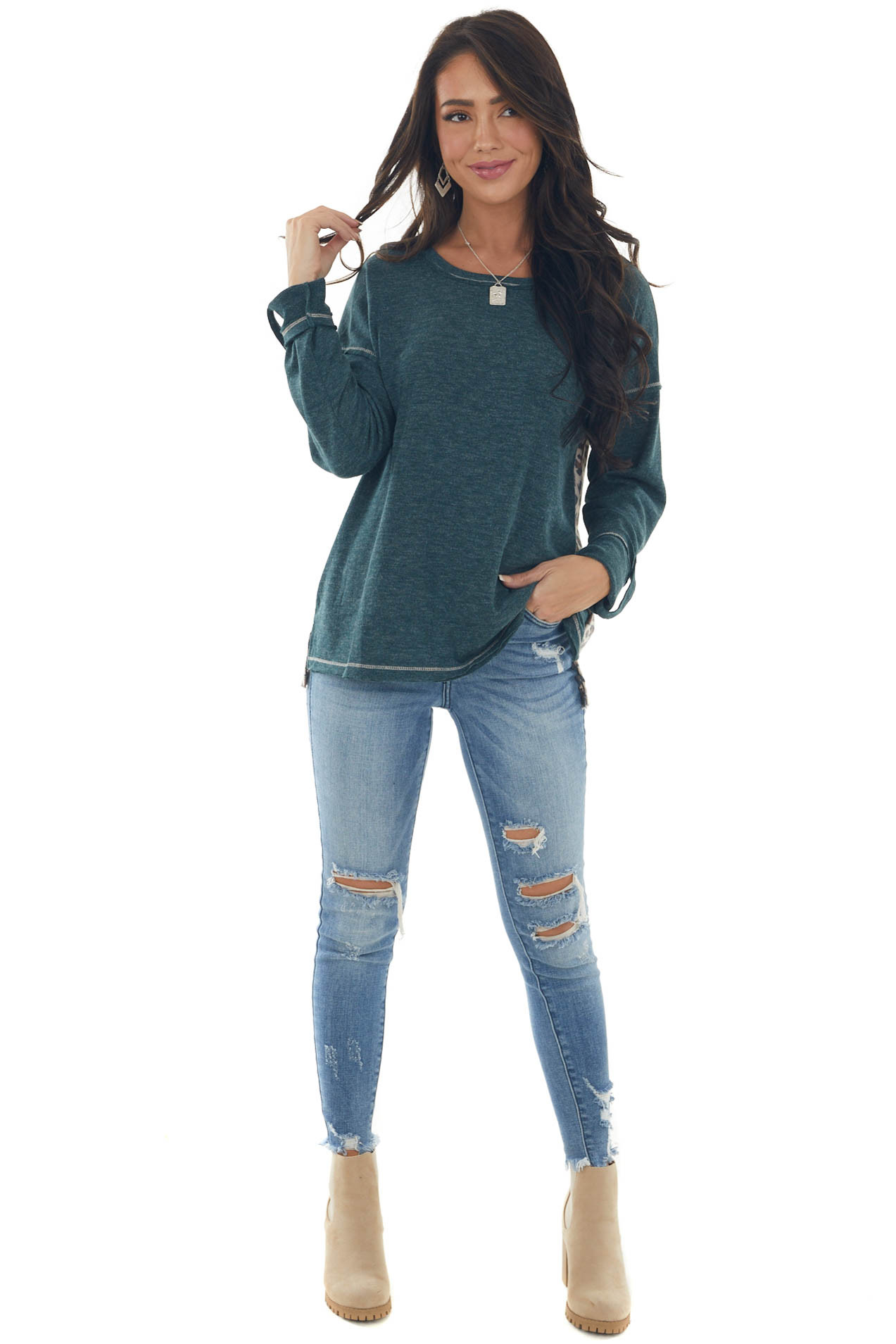 Dark Pine Long Sleeve Top with Leopard Print Back