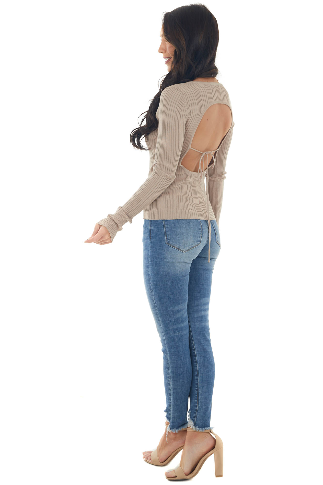 Latte Ribbed Knit Top with Cut Out Back