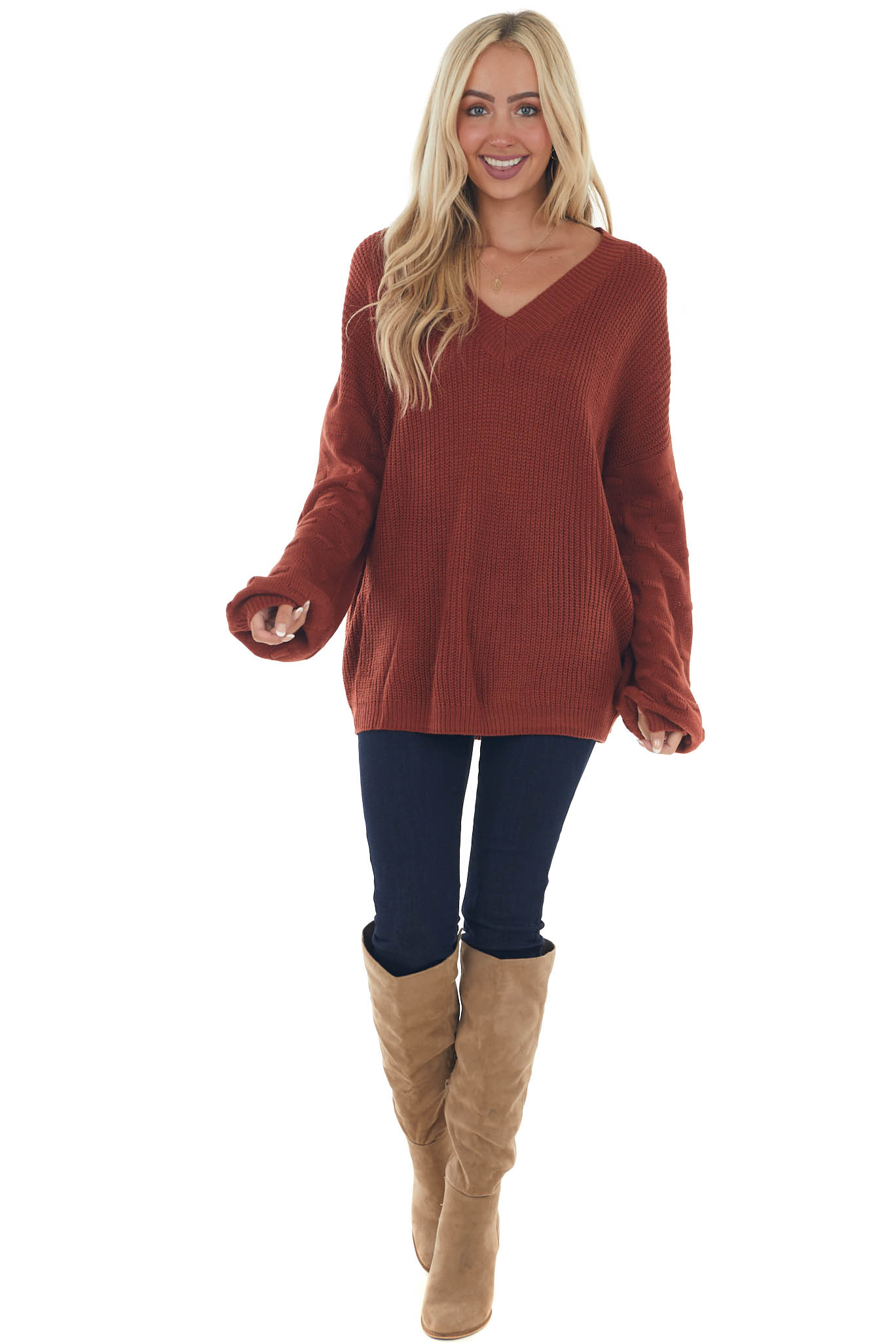 Rust Textured Long Sleeve V Neck Knit Sweater