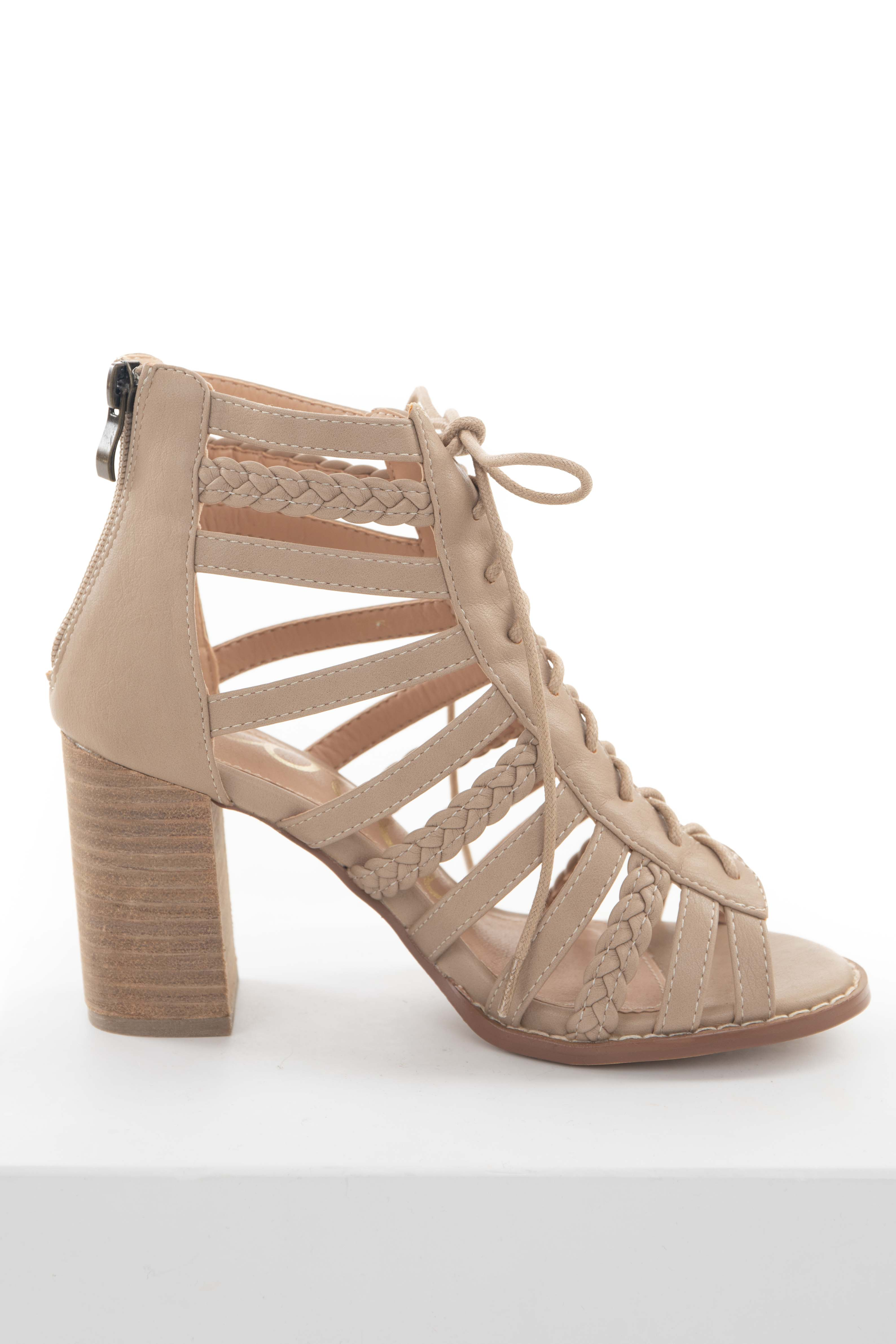 Latte Strappy Braided Heels with Lace Up Front