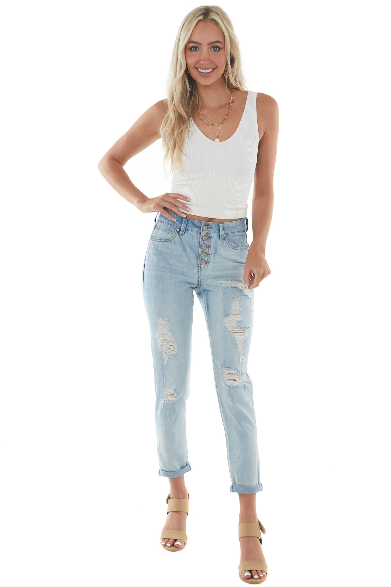 Light High Rise Multi Button Fly Mom Jeans