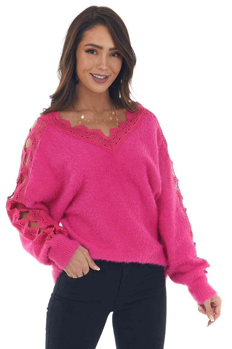Hot Pink Fuzzy Sweater with Lace Cut Outs