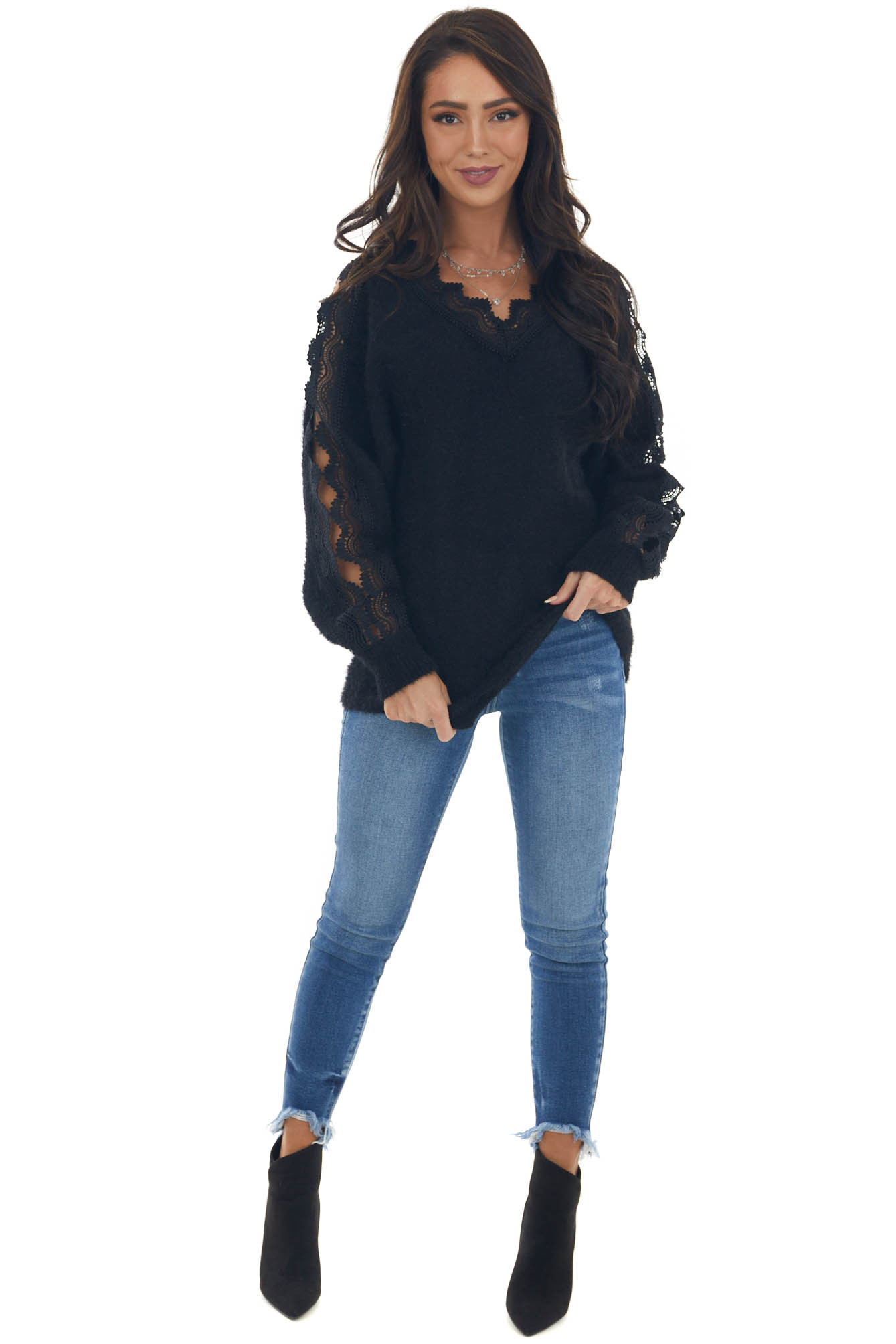 Black Fuzzy Sweater with Lace Cut Outs