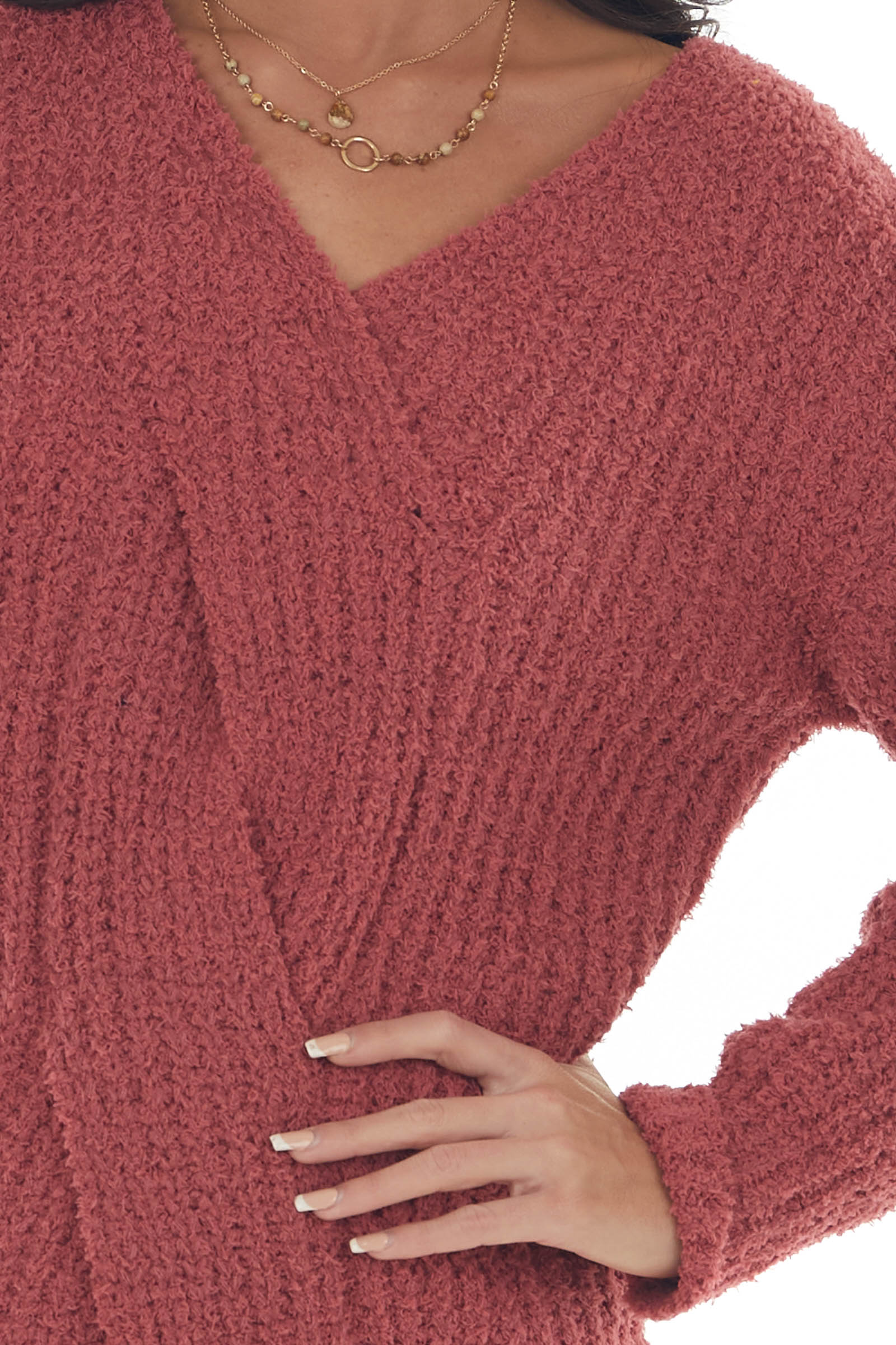 Marsala V Neck Cable Knit Detail Sweater