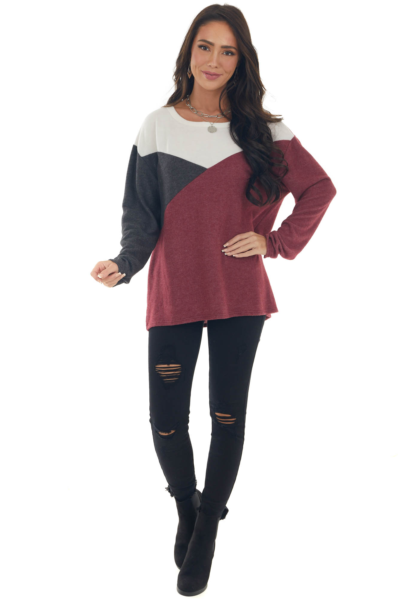Berry Colorblock Brushed Knit Top