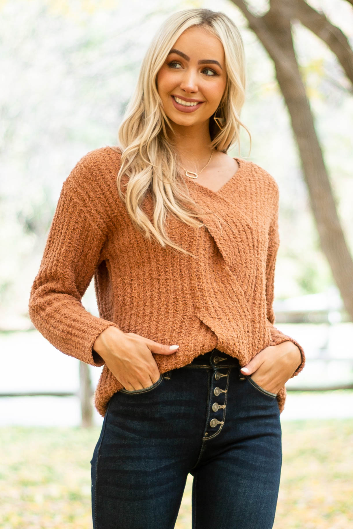 Copper V Neck Cable Knit Detail Sweater