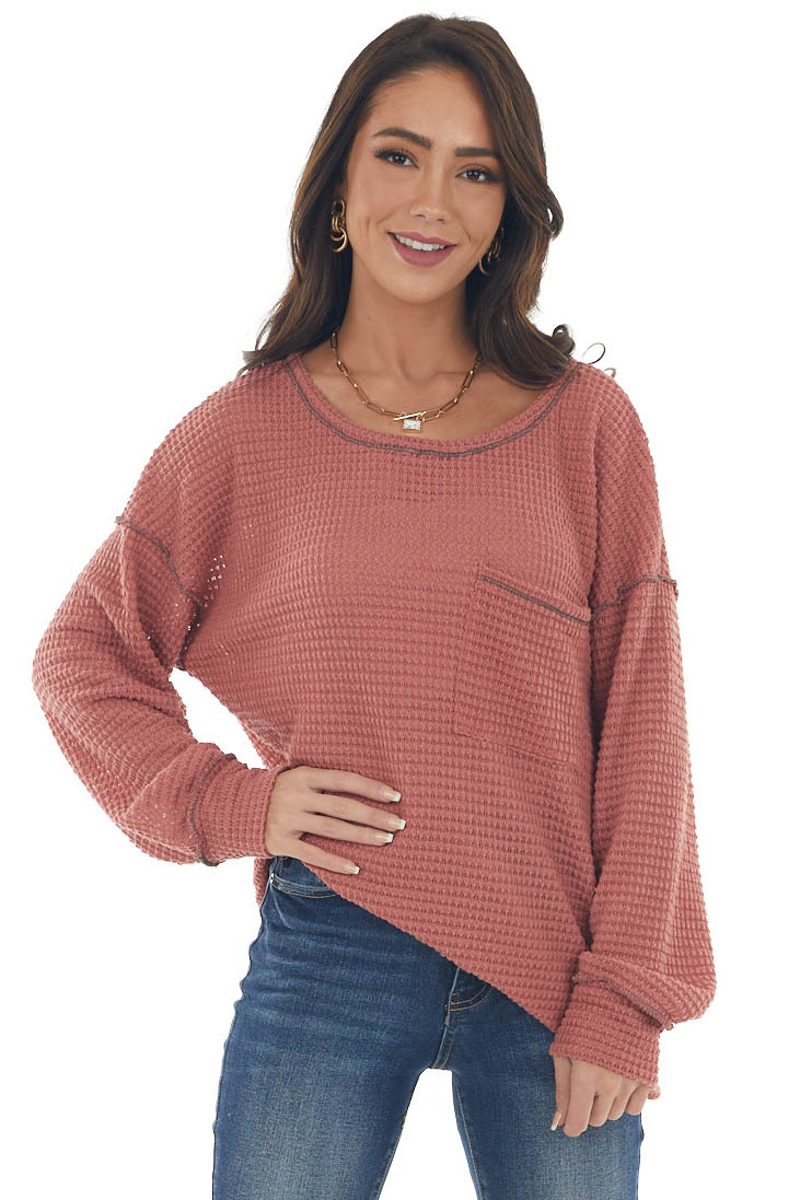 Hazy Coral Loose Waffle Knit Chest Pocket Top