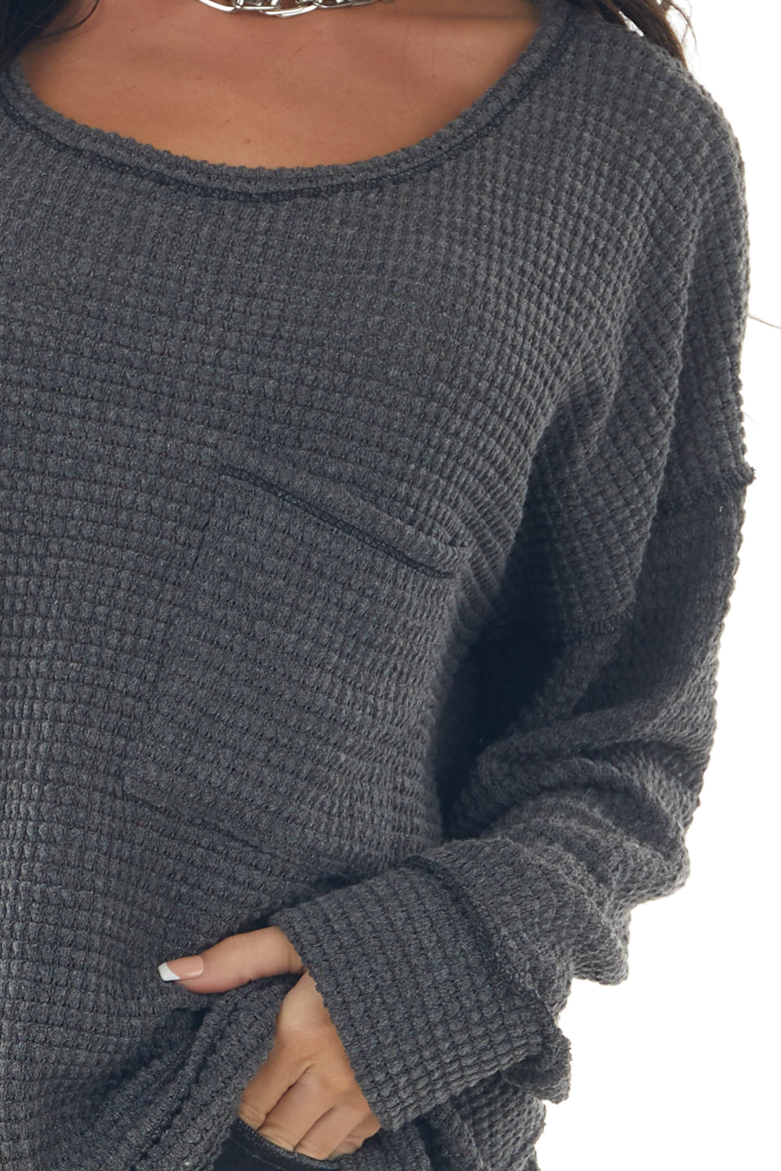 Charcoal Loose Waffle Knit Chest Pocket Top