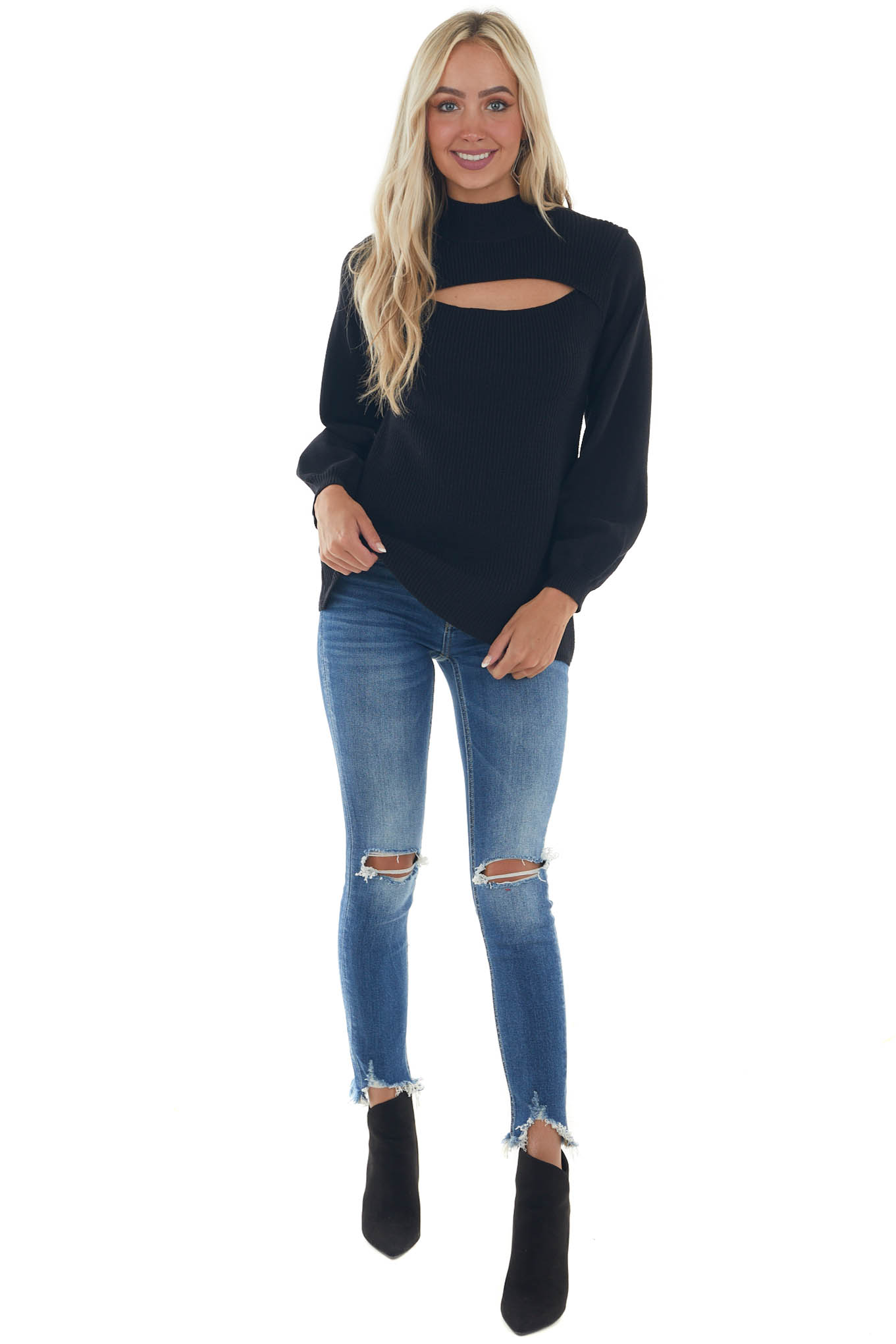 Black Mock Neck Chest Cut Out Ribbed Sweater