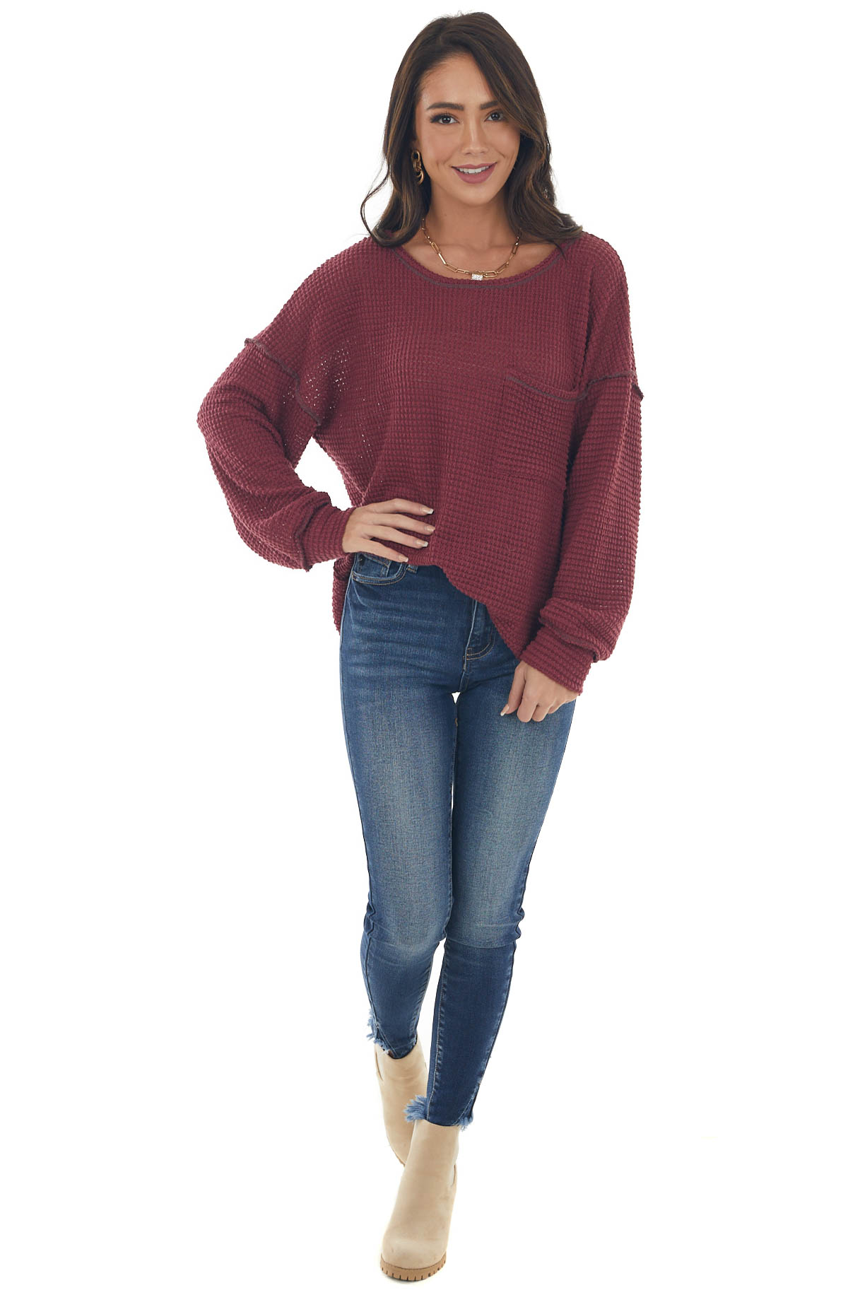 Wine Loose Waffle Knit Chest Pocket Top