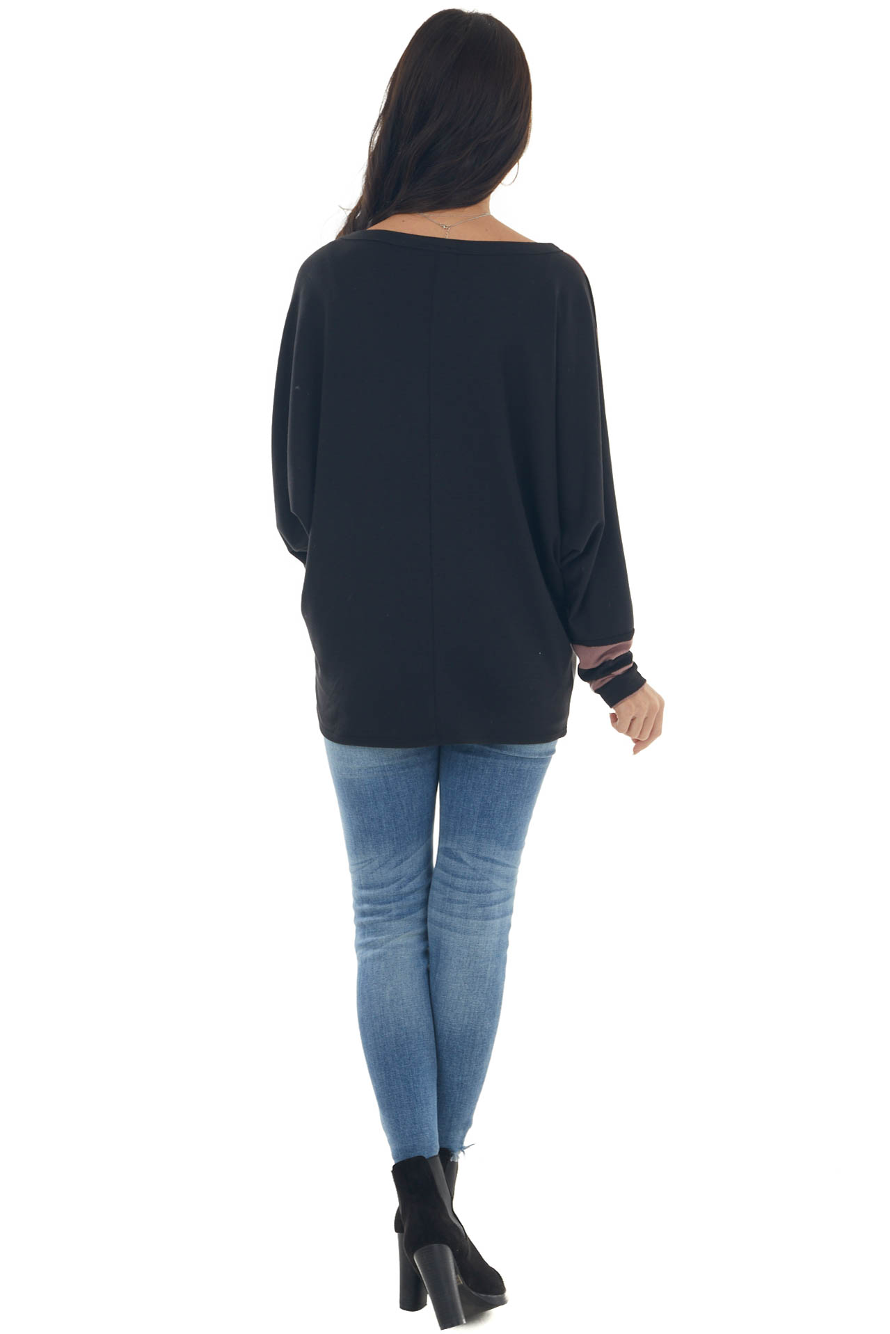 Mauve Stripe Colorblock Top with Dolman Sleeves