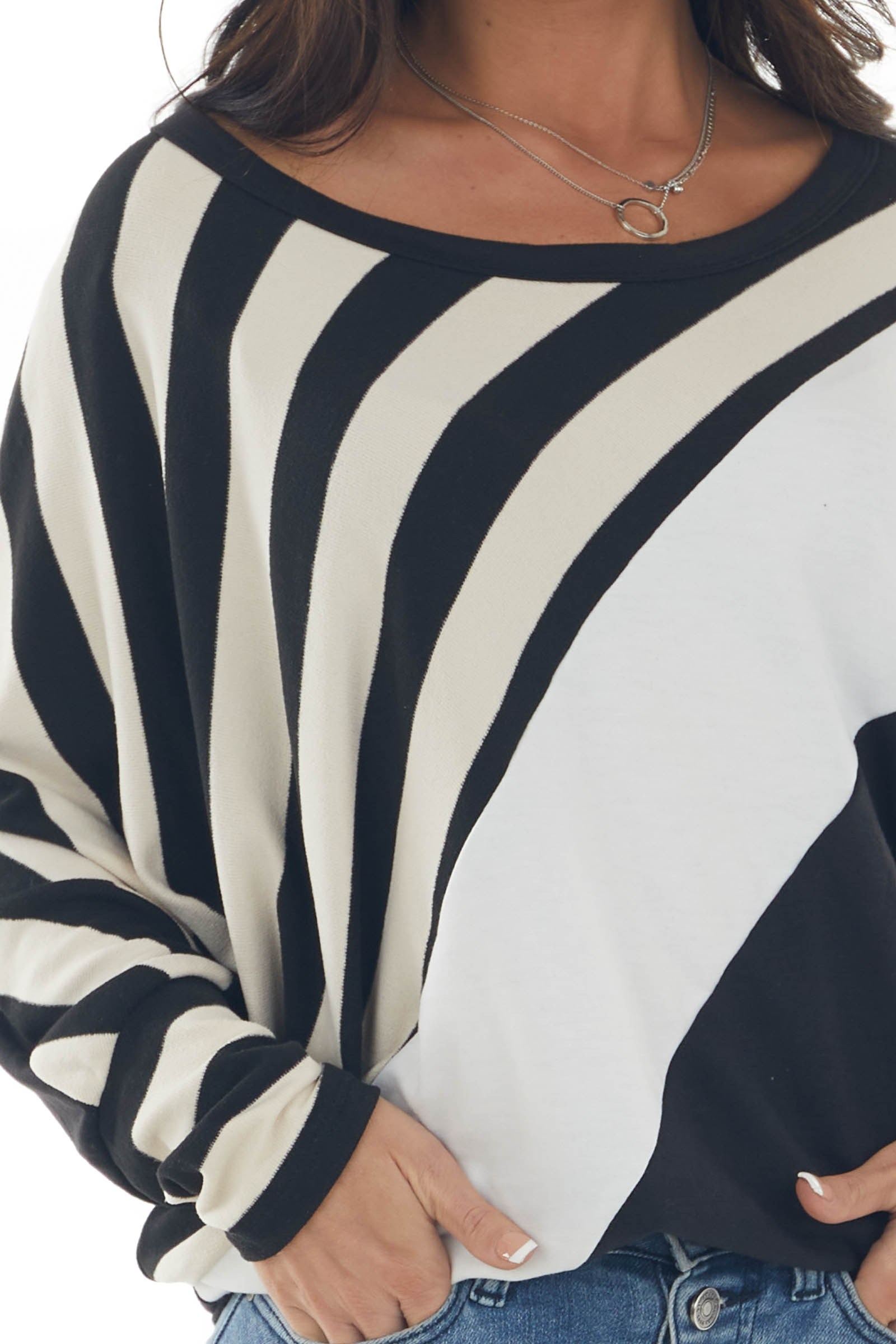 Cream Stripe Colorblock Top with Dolman Sleeves