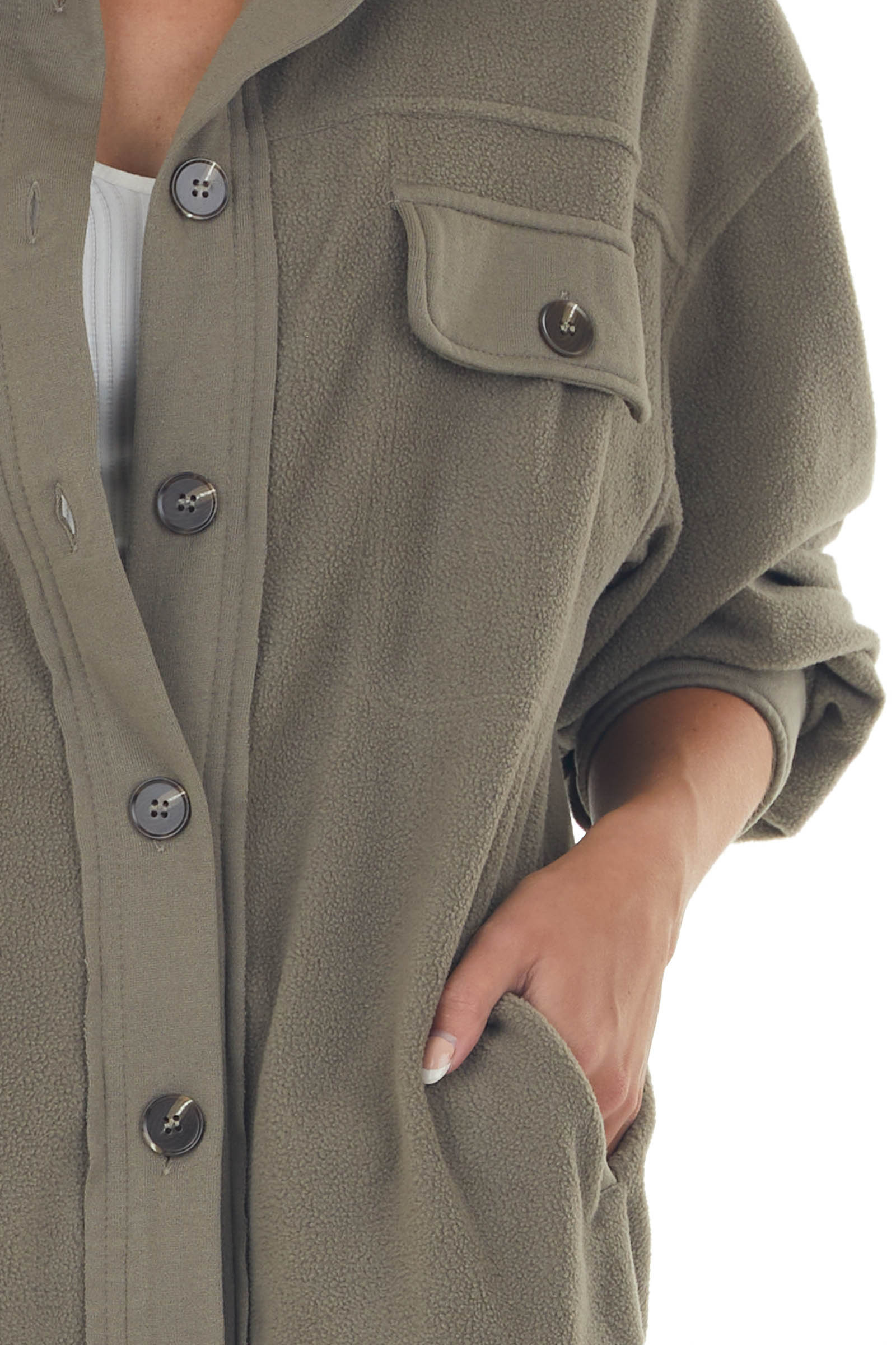 Faded Olive Soft Fleece Button Up Shirt Jacket
