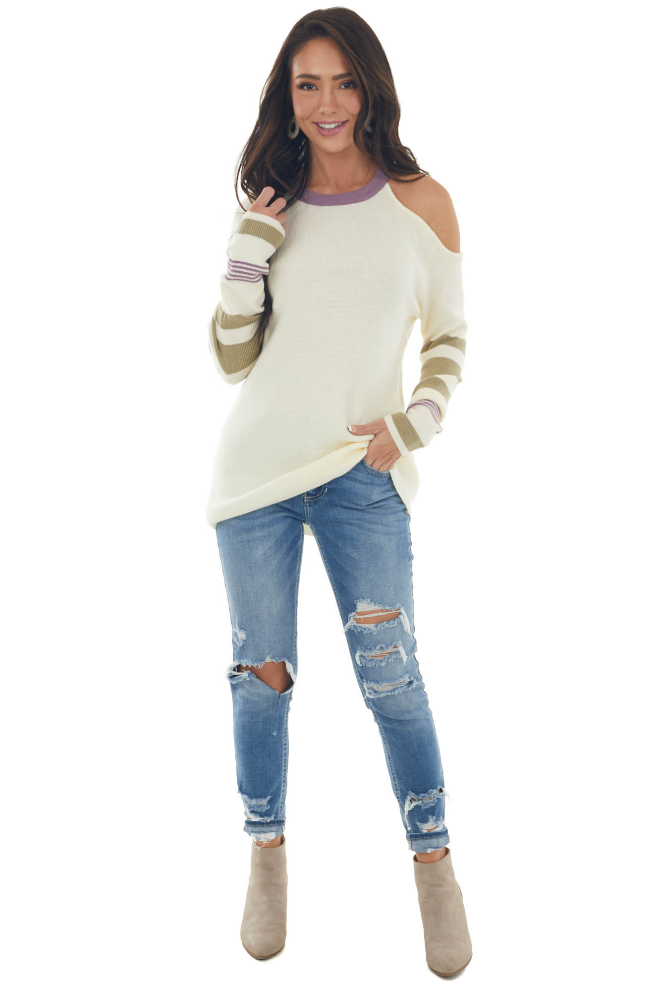 Cream Cold Shoulder Striped Sleeve Sweater