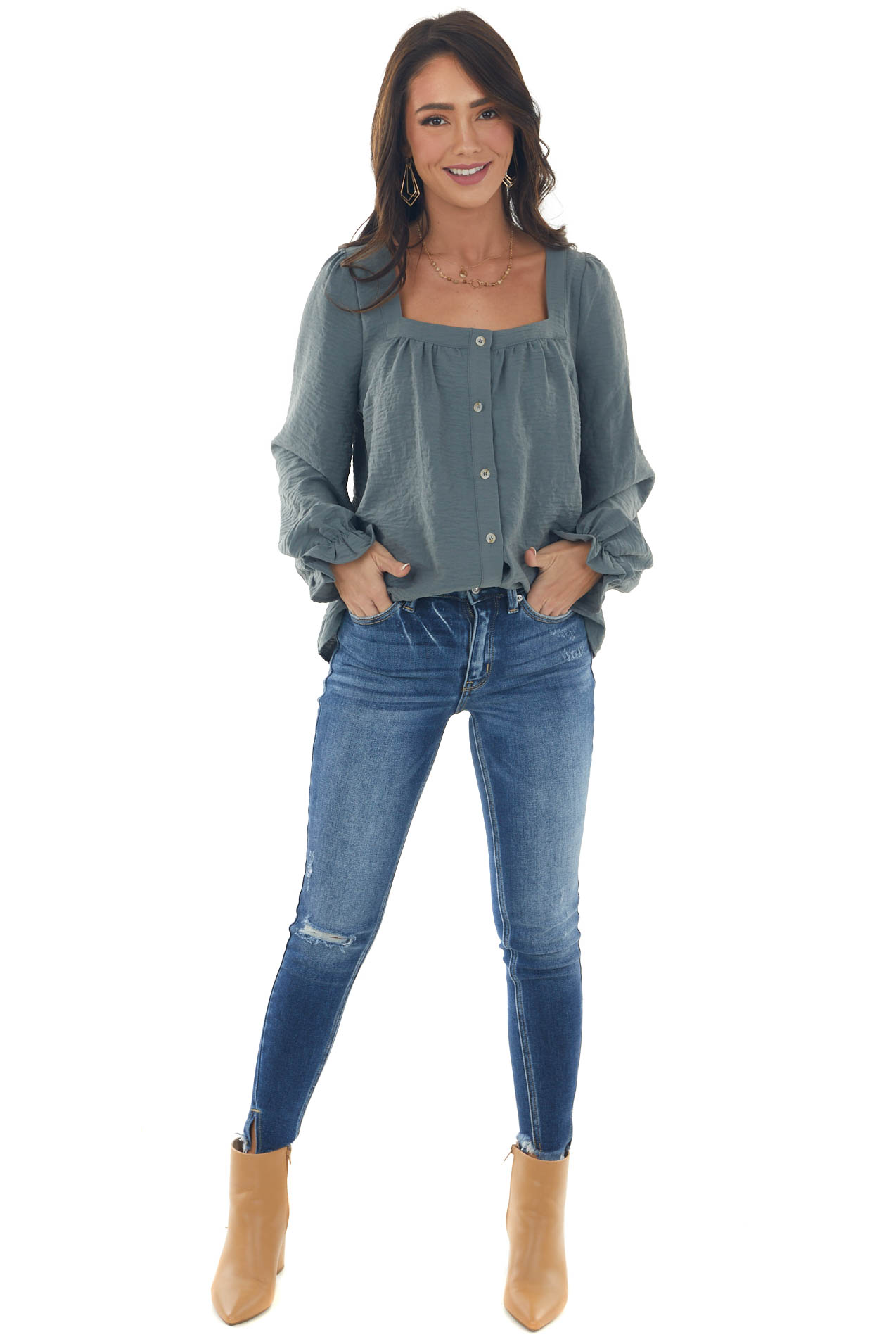 Spruce Long Sleeve Button Up Textured Blouse