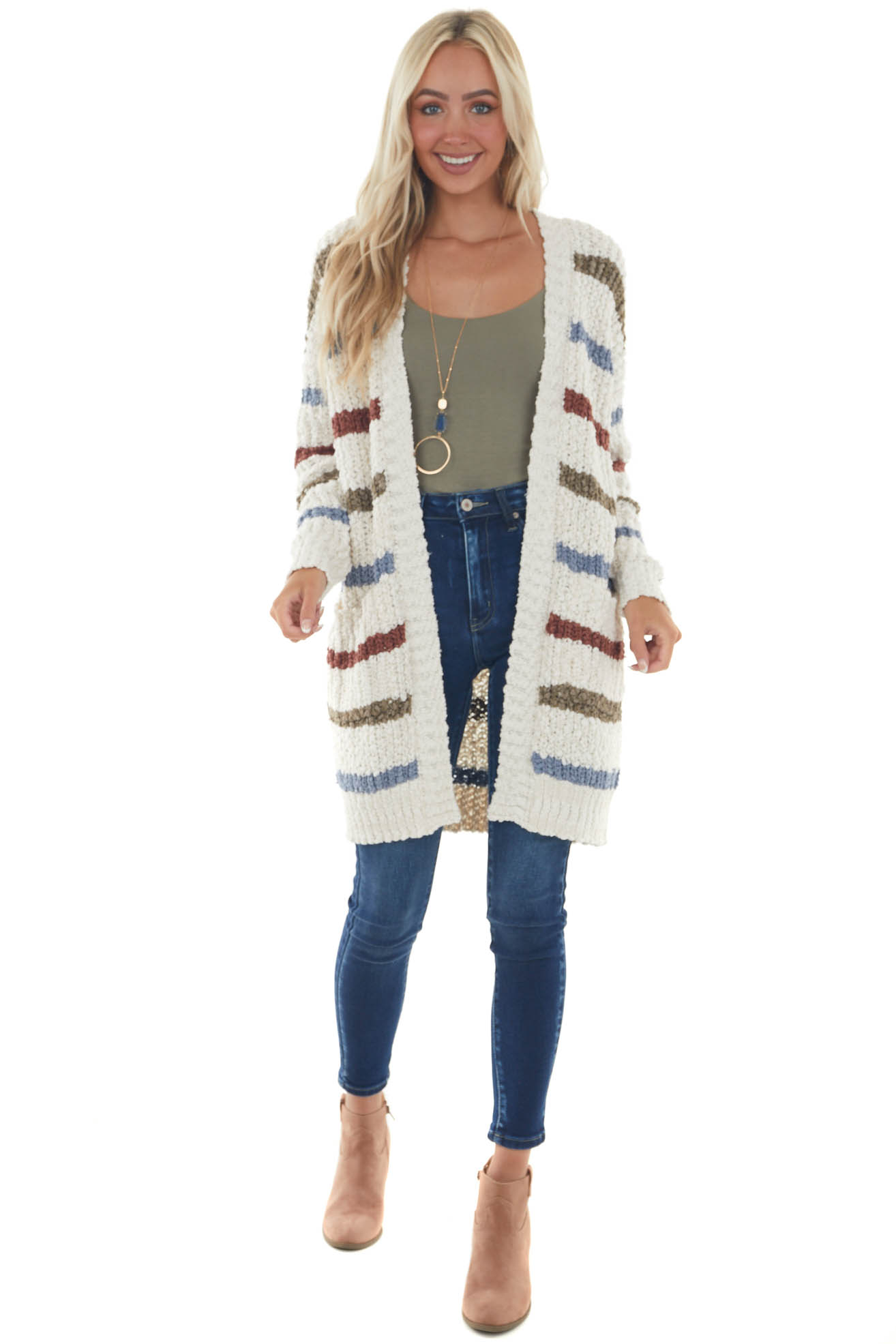 Ivory Striped Thick Knit Cardigan with Pockets