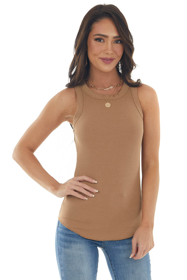 Camel Ribbed Sleeveless Fitted Knit Top with Crewneck