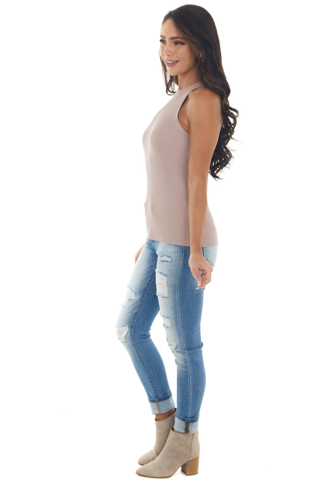 Mauve Ribbed Knit Halter Neck Fitted Tank Top