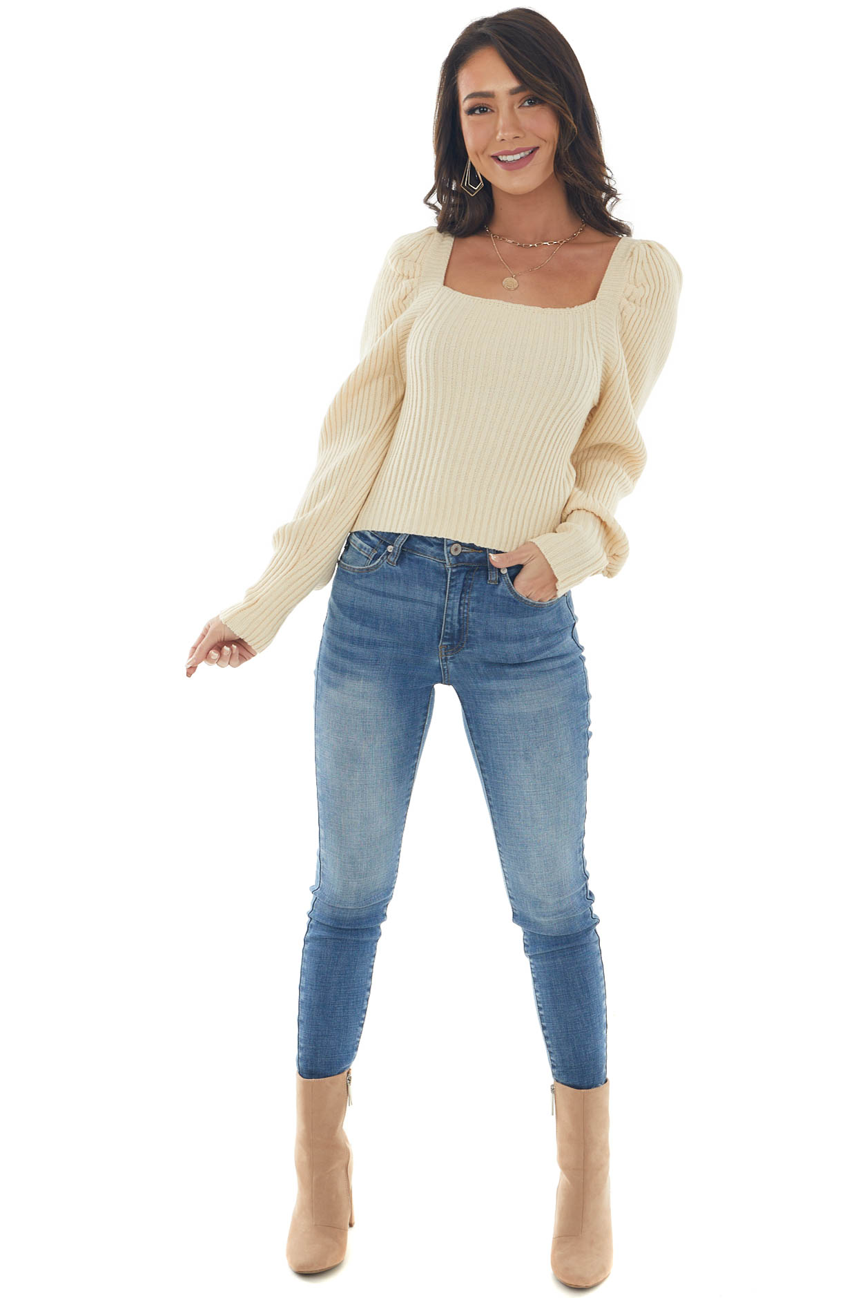 Champagne Square Neck Back Tie Ribbed Sweater