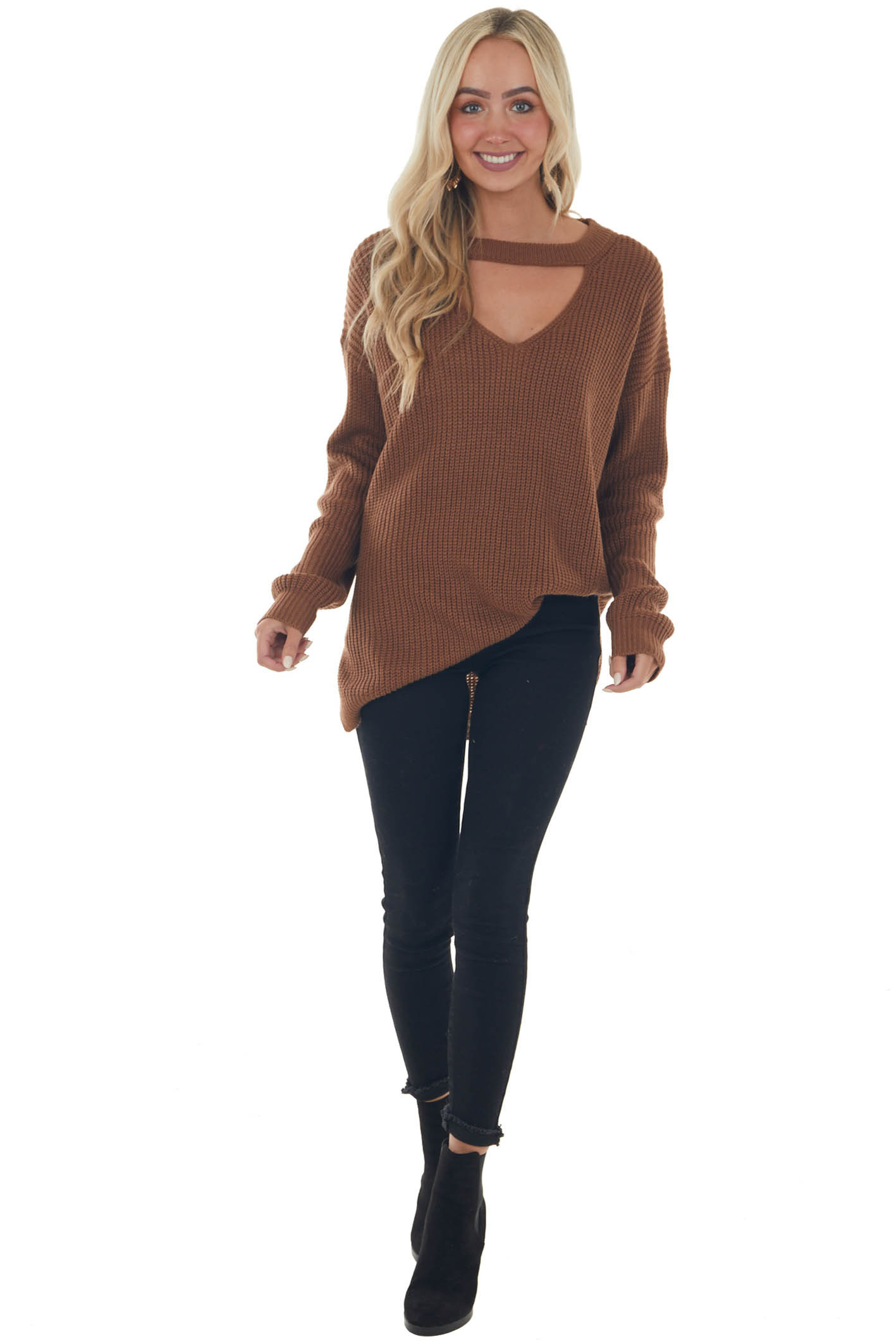 Sepia Chest Cut Out Oversized Sweater