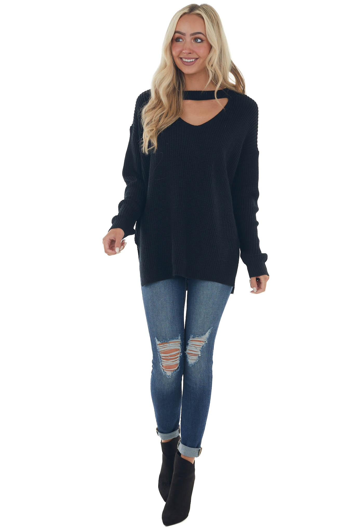 Black Chest Cut Out Oversized Sweater