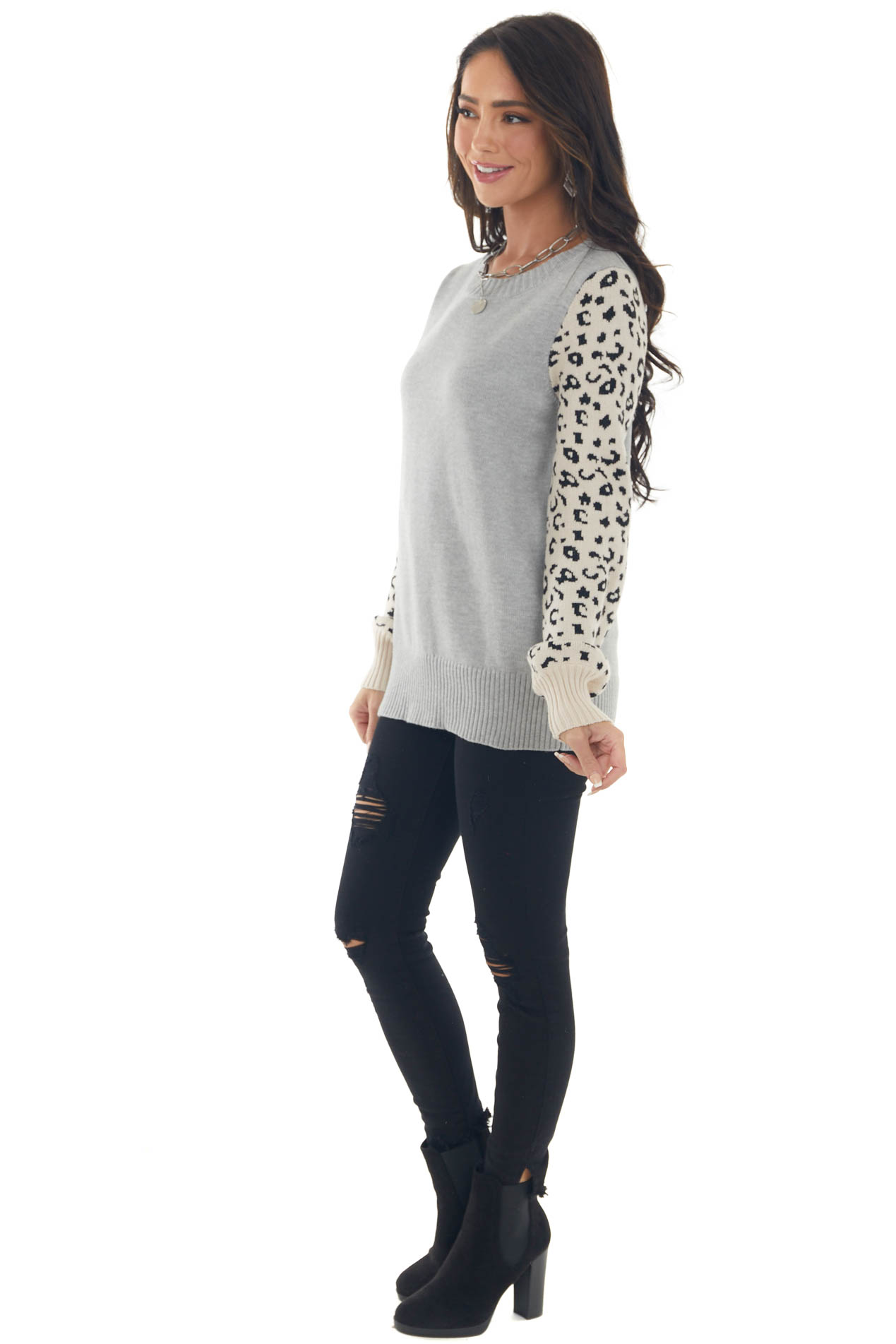 Heather Grey and Leopard Print Knit Sweater