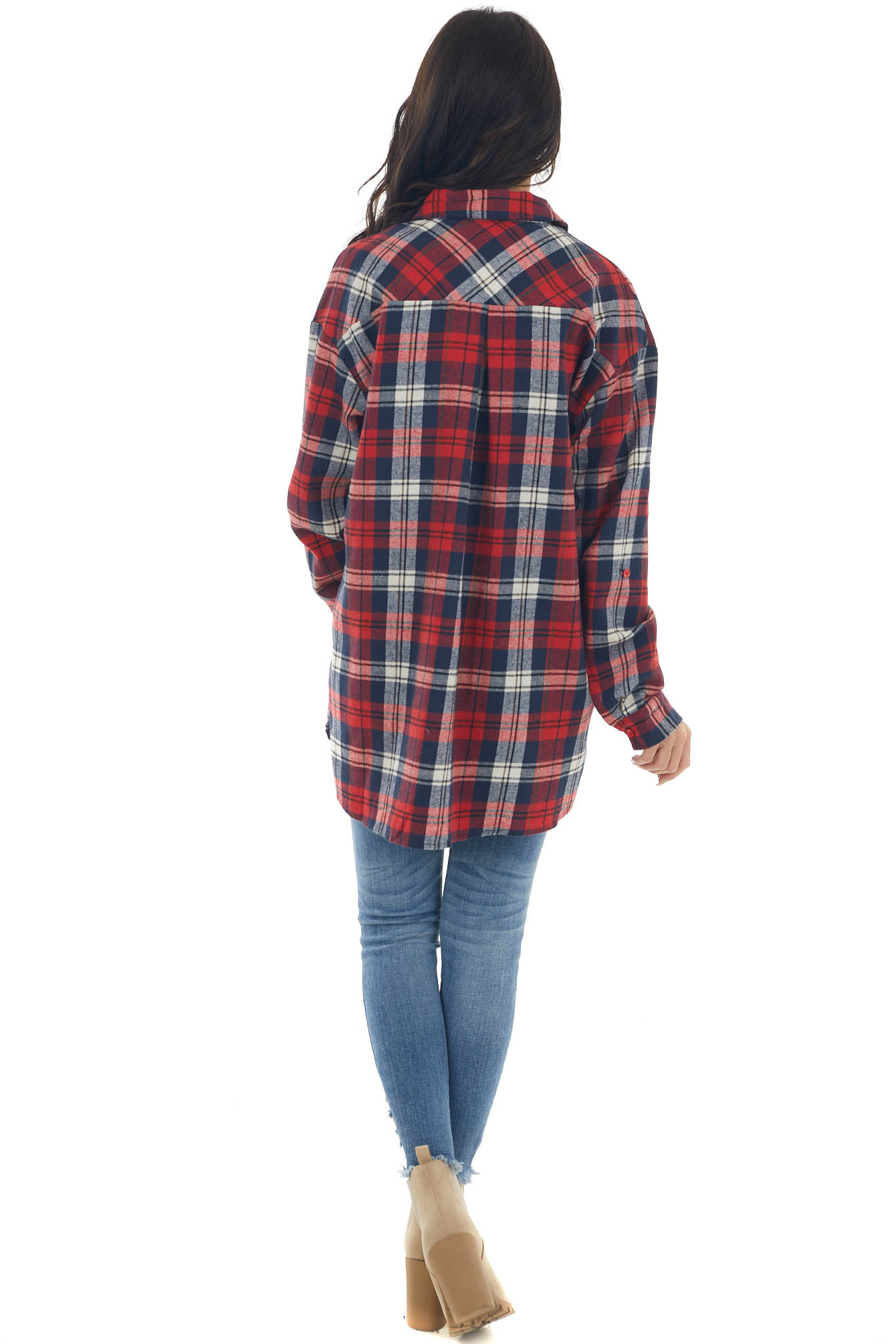 Crimson and Navy Plaid Chest Pocket Flannel