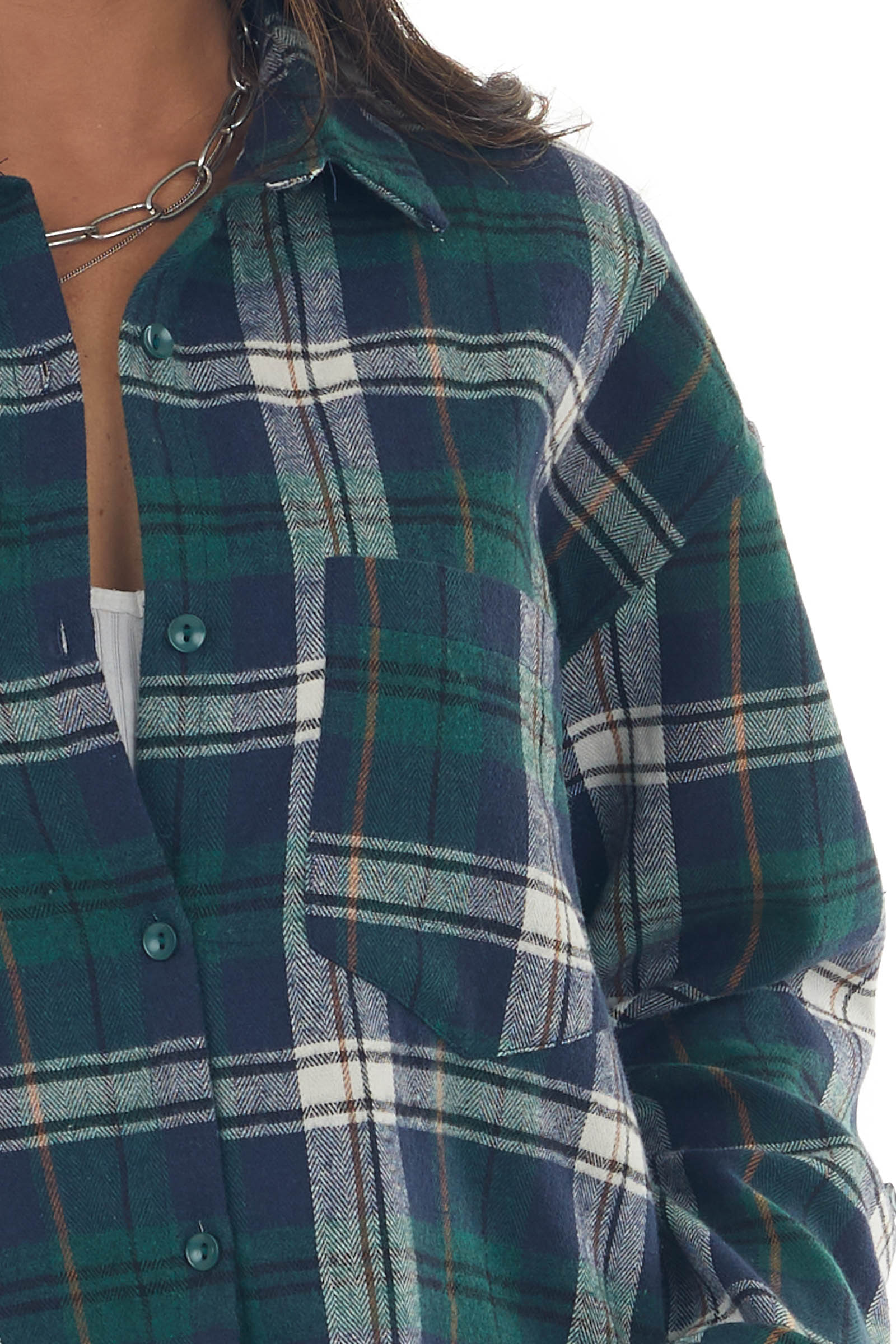 Forest and Navy Plaid Chest Pocket Flannel