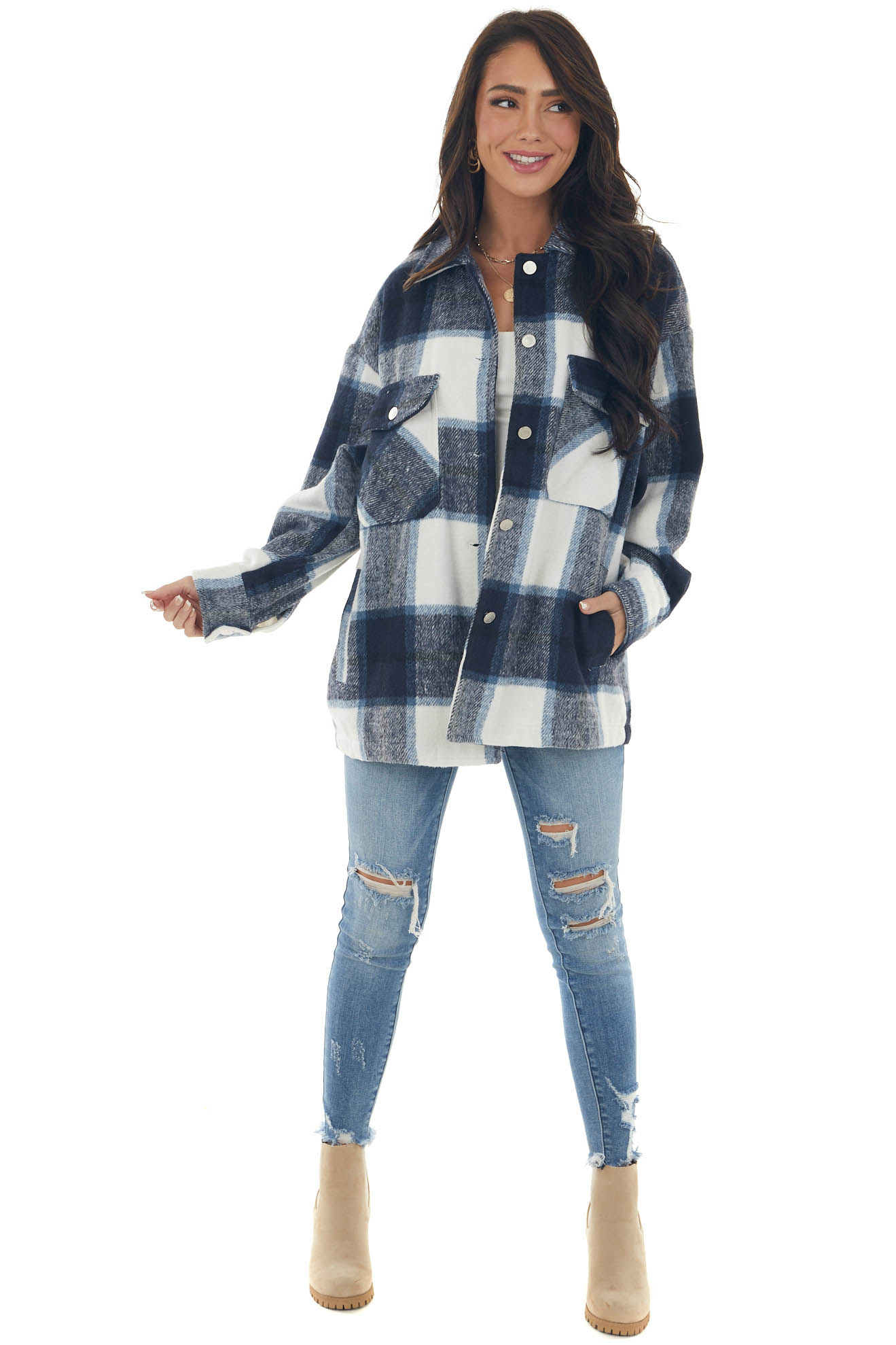 Navy Plaid Button Down Brushed Shirt Jacket