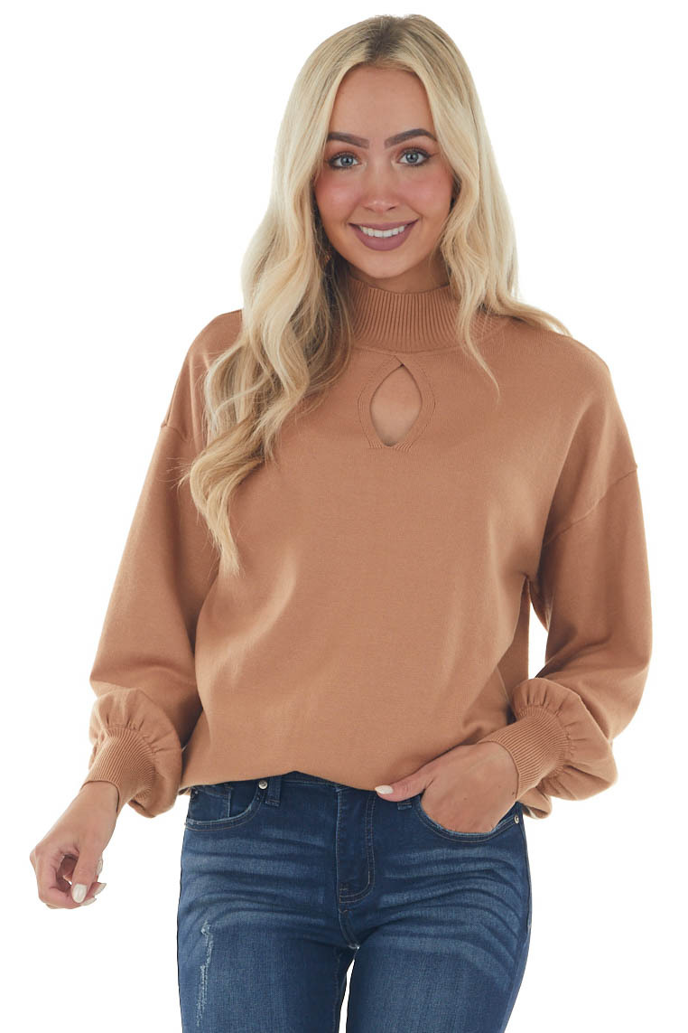 Brown Sugar Mock Neck Chest Cut Out Sweater