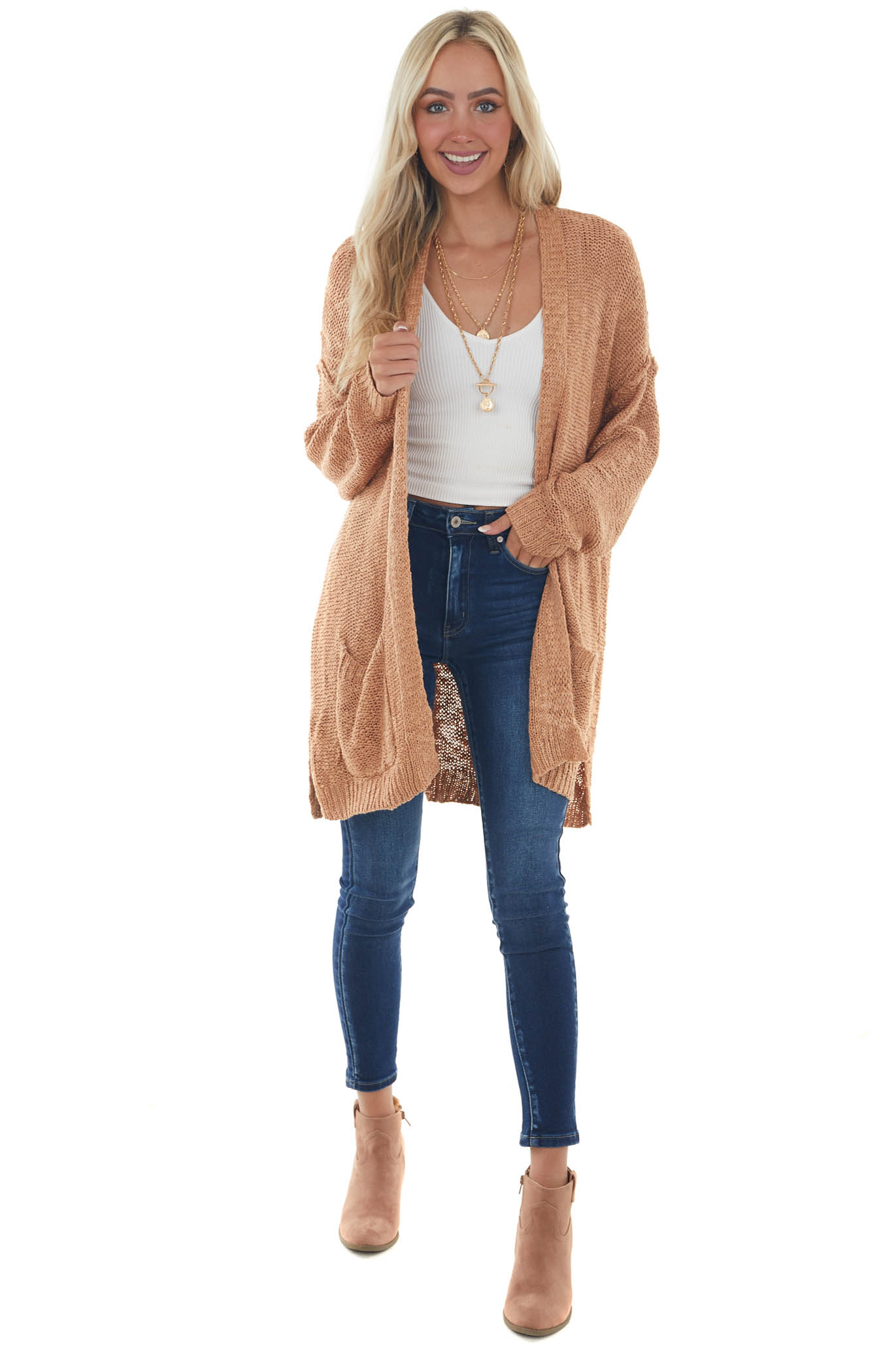 Copper Open Front Knit Cardigan with Pockets
