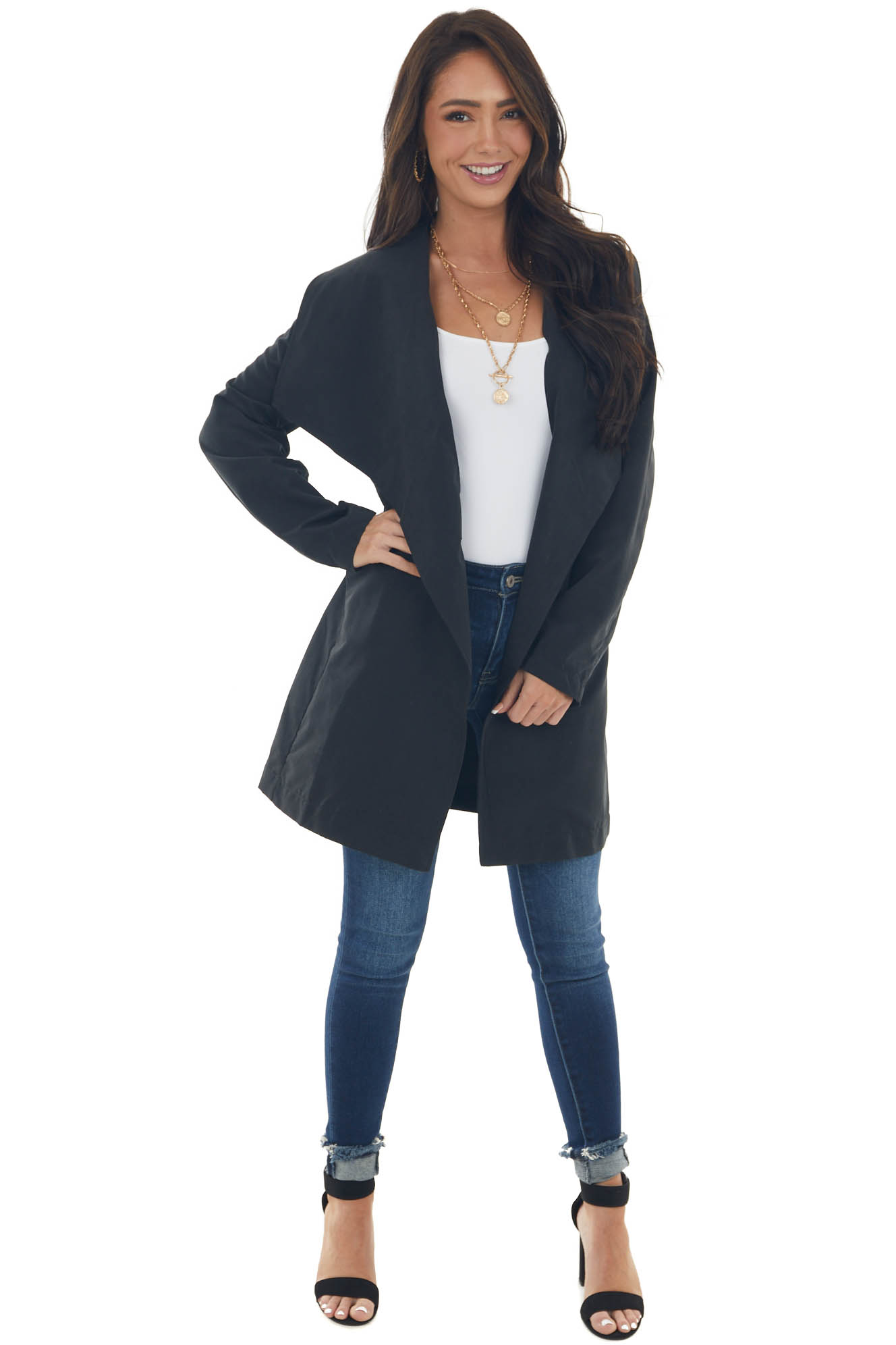 Black Soft Lightweight Woven Trench Coat