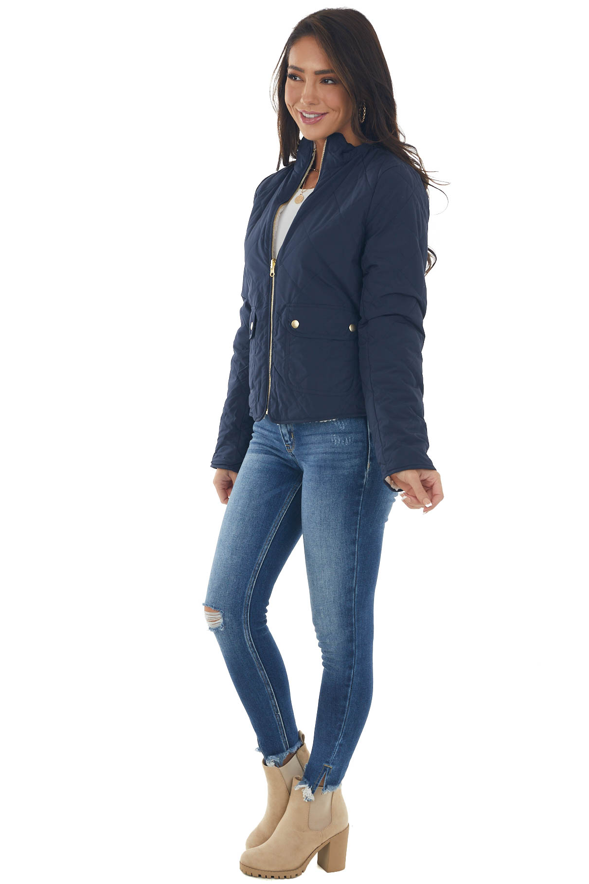 Navy Blue Quilted Reversible Faux Fur Jacket