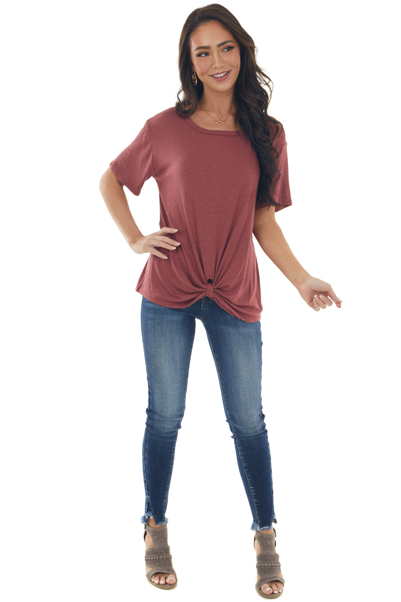 Marsala Knit Top with Front Twist Detail